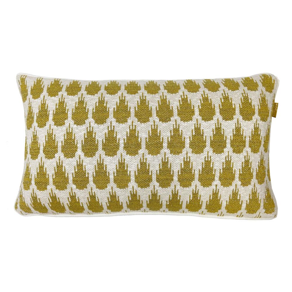 Coussin botanique tricoté d'or 35x60