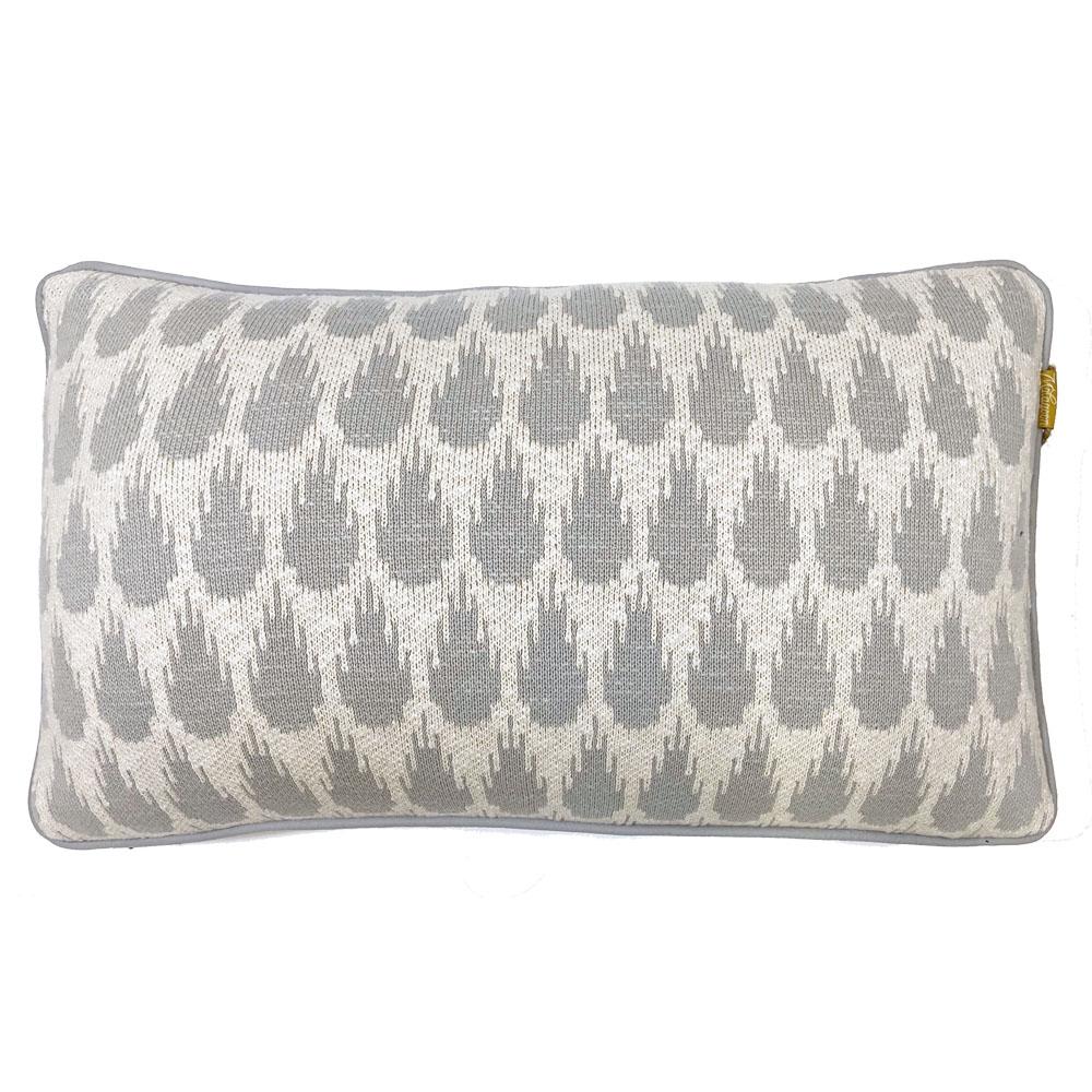 Coussin botanique tricoté gris clair 35x60