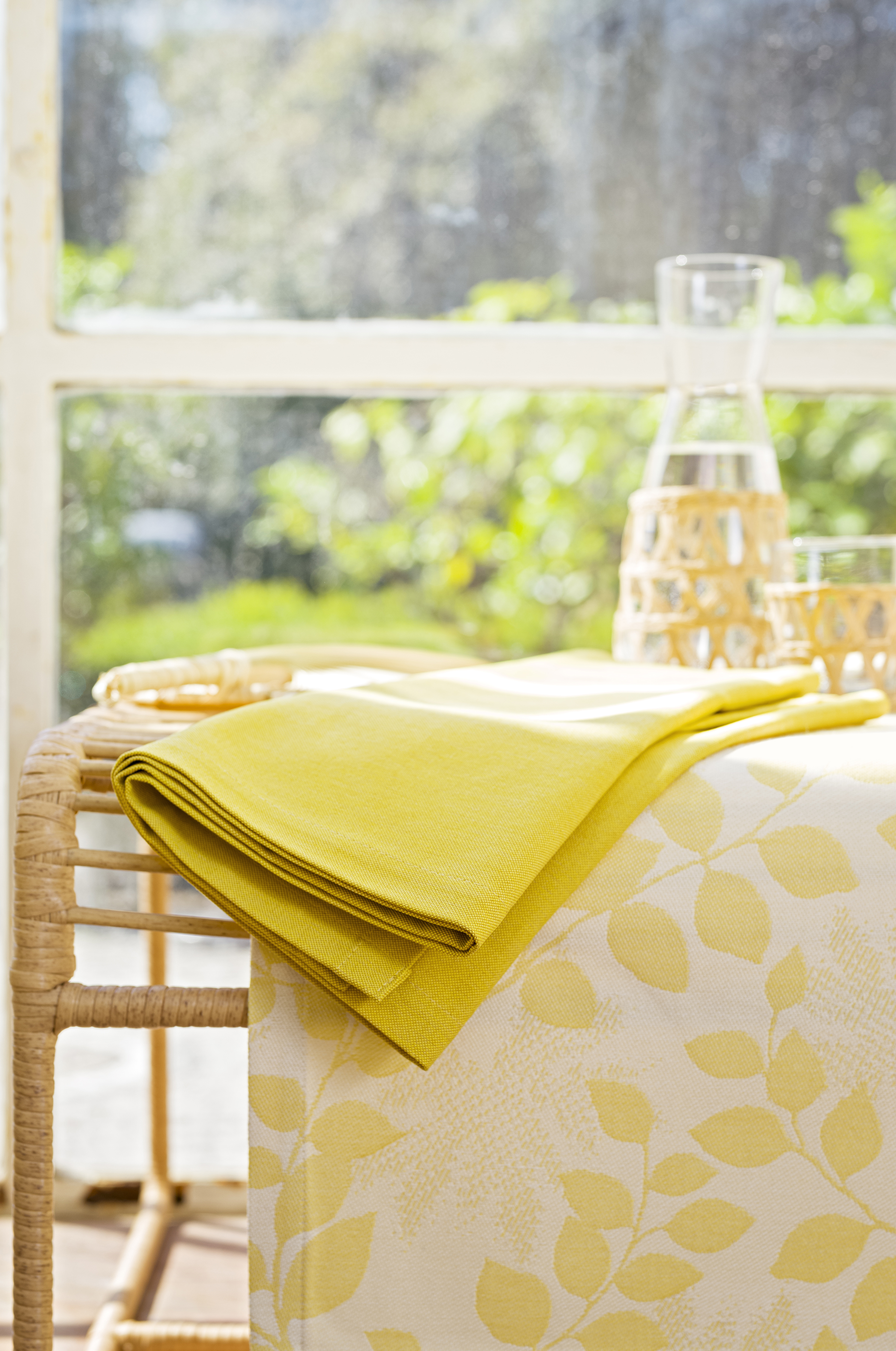 Chemins de table outdoor moutarde - Lot de 2 - 145x40