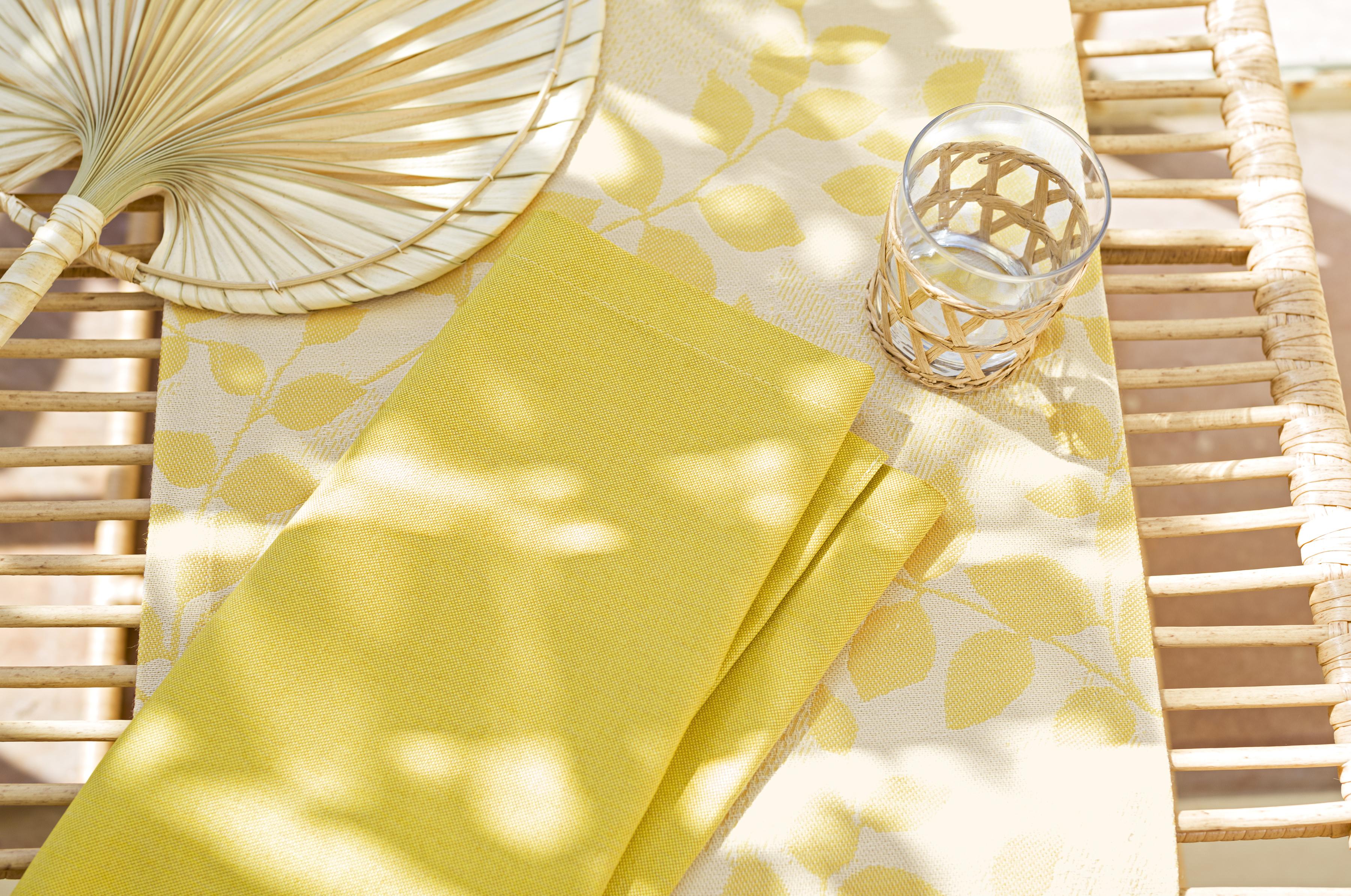 Chemin de table outdoormotif floral jaune Dralon 145x40