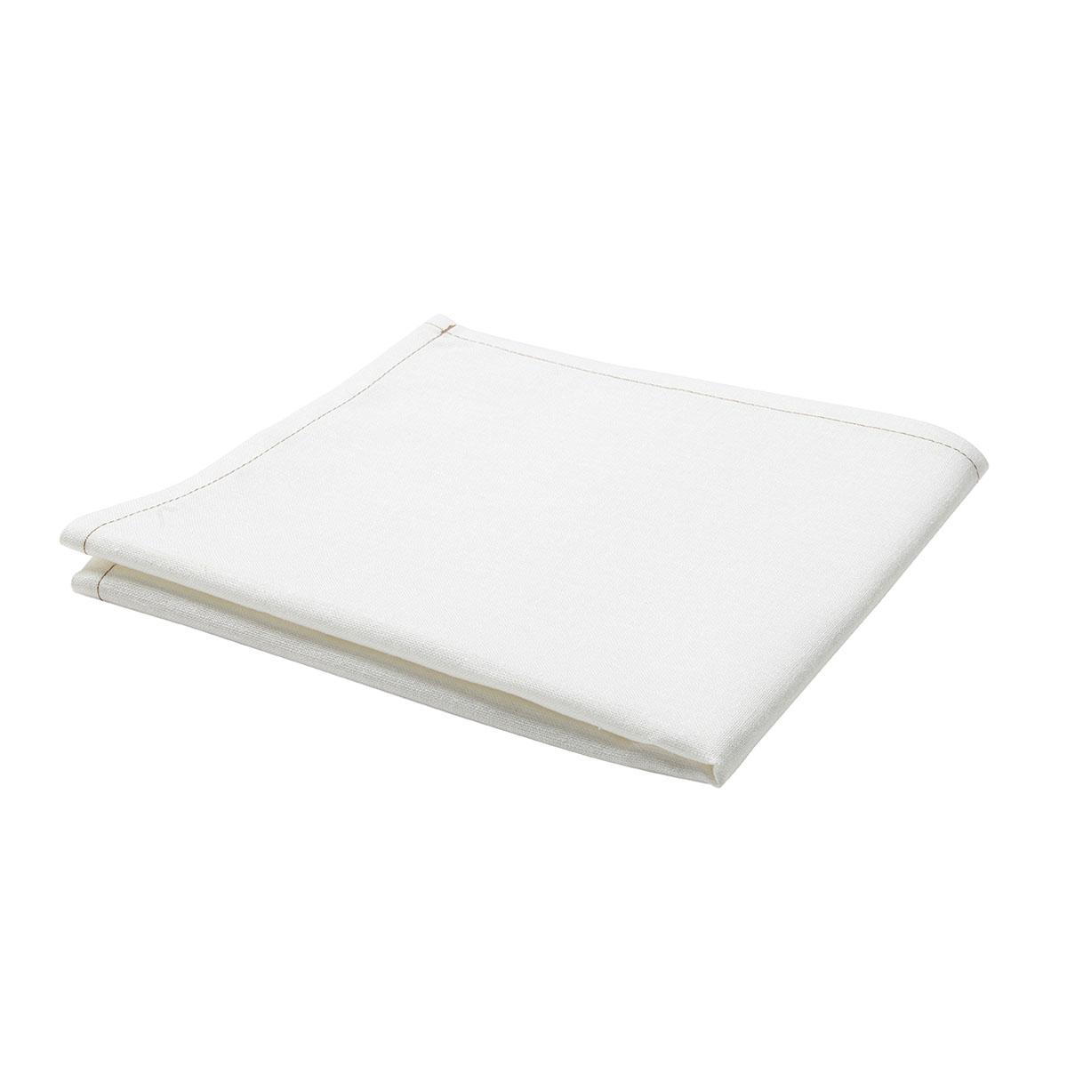 Serviette de table unie en polylin, Meringue 45 x 45 cm