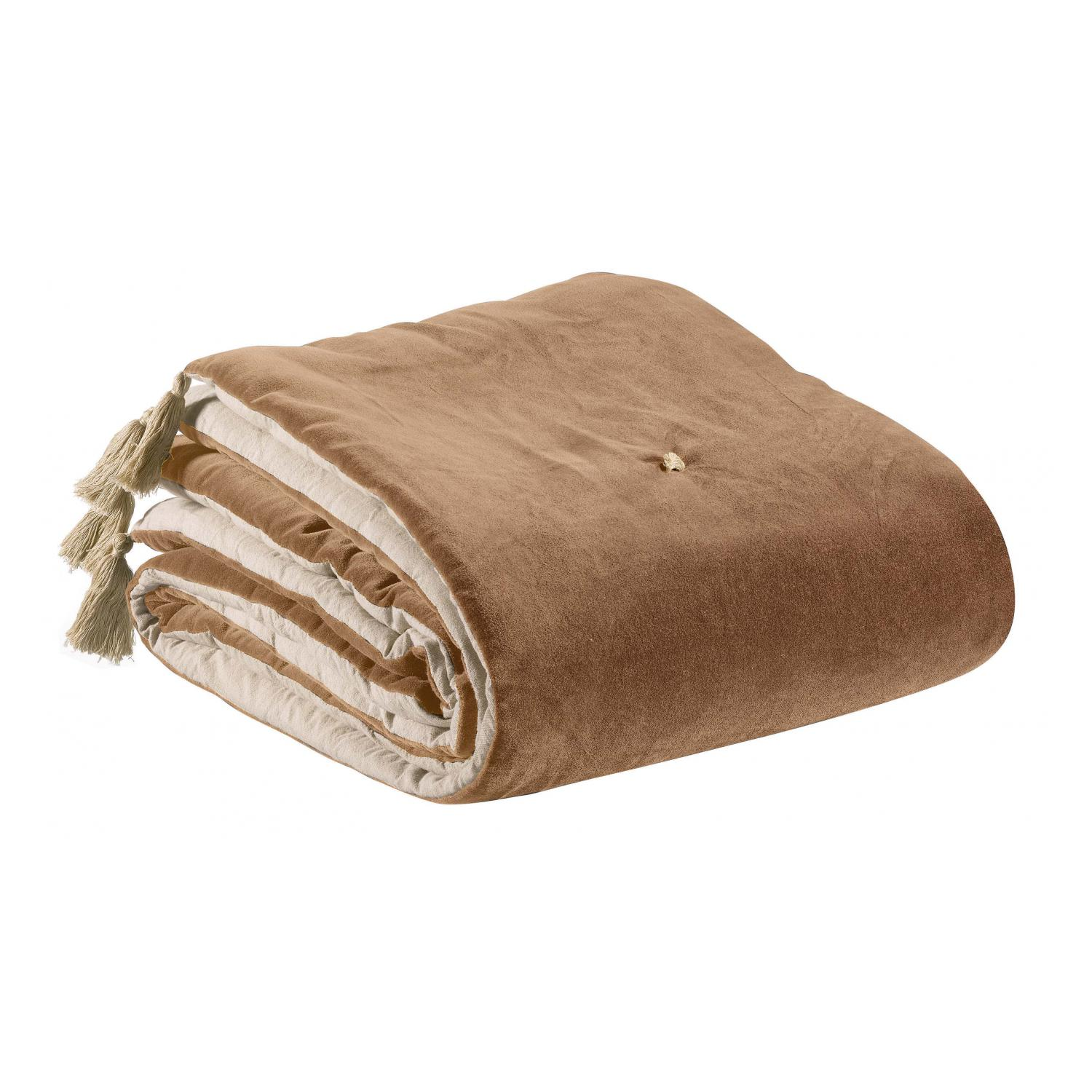 Edredon pompons  en coton ficelle 80 x 180
