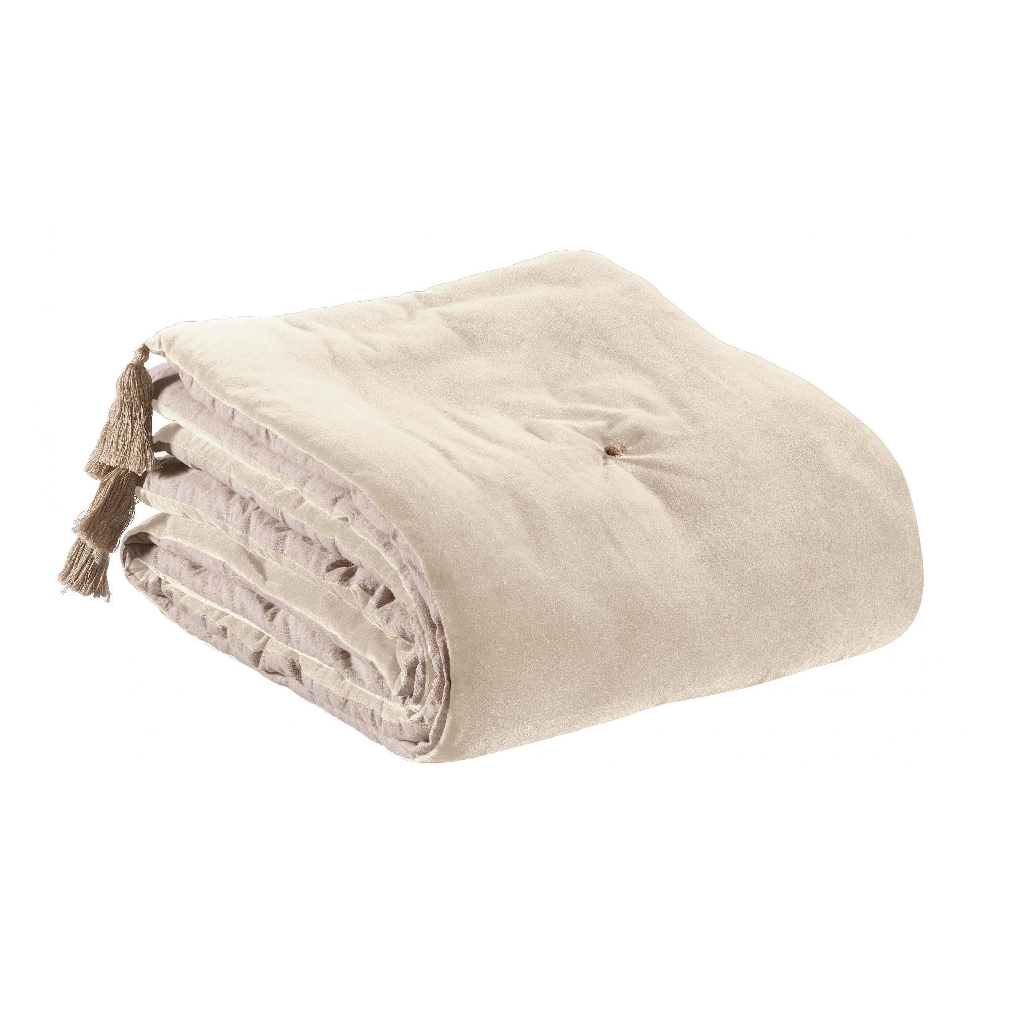 Edredon pompons  en coton grege 80 x 180