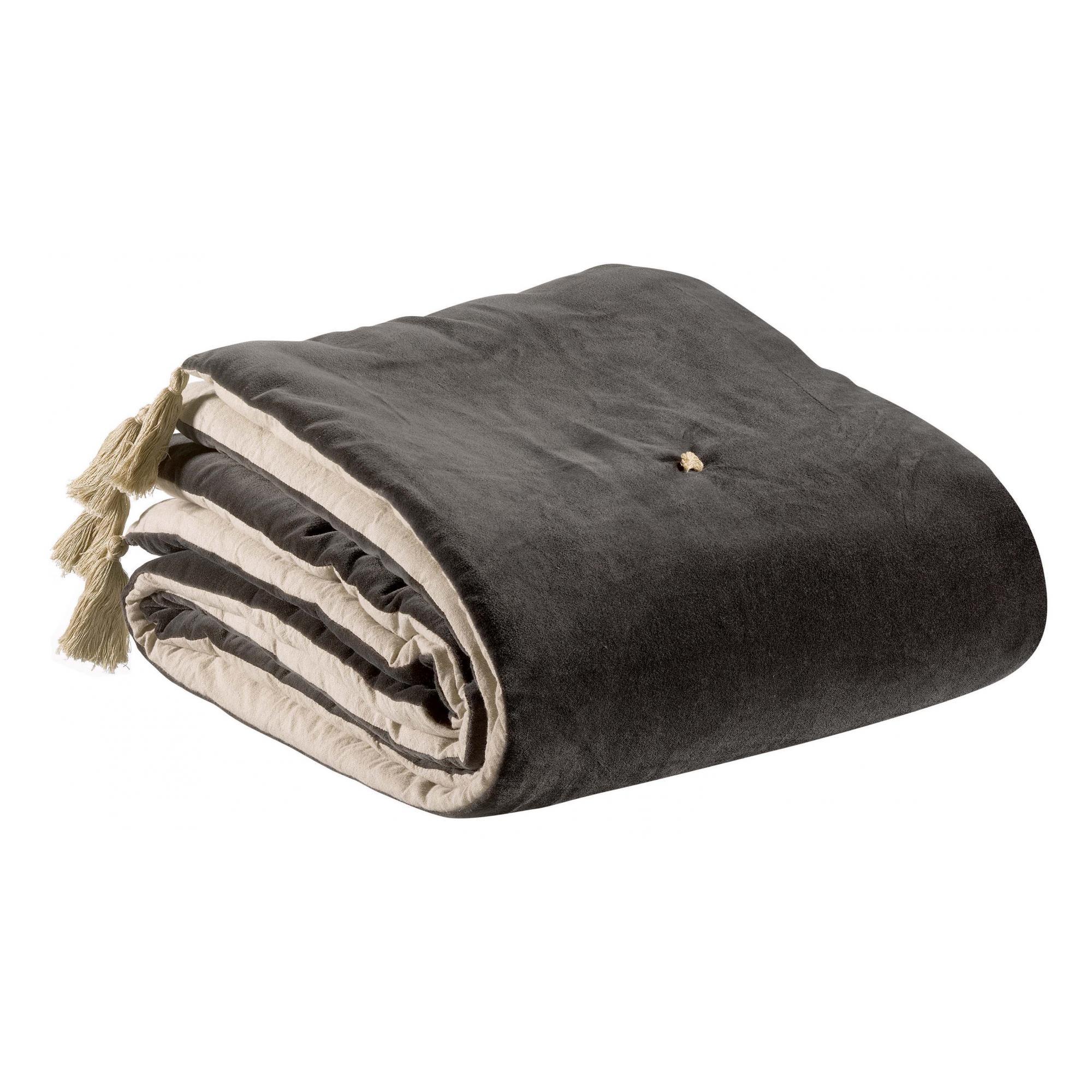 Edredon pompons  en coton tonnerre 80 x 180