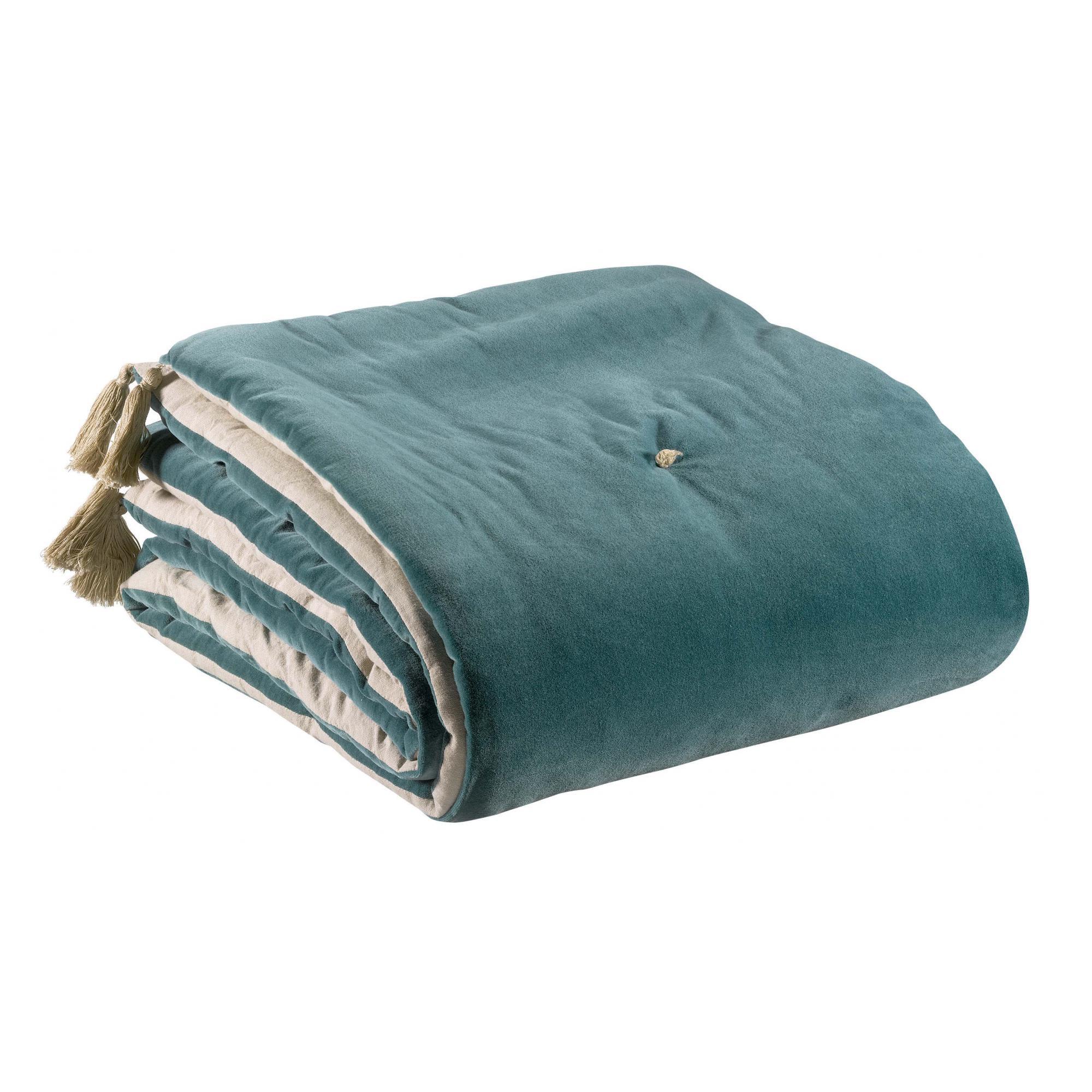Edredon pompons  en coton vert de gris 80 x 180