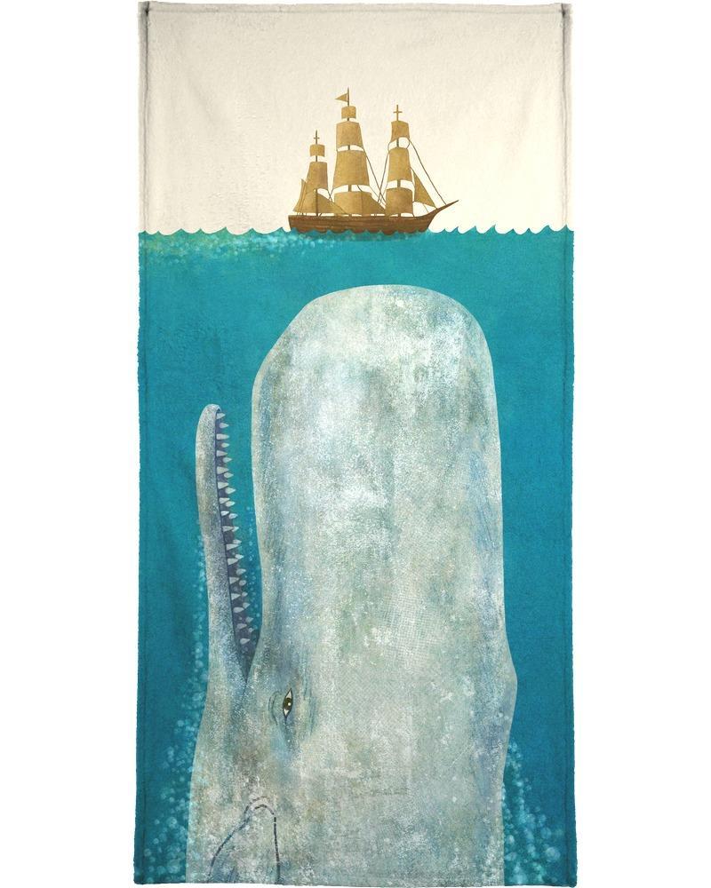 Serviette de plage en éponge-velours en Blanc ivoire & Bleu/90x180