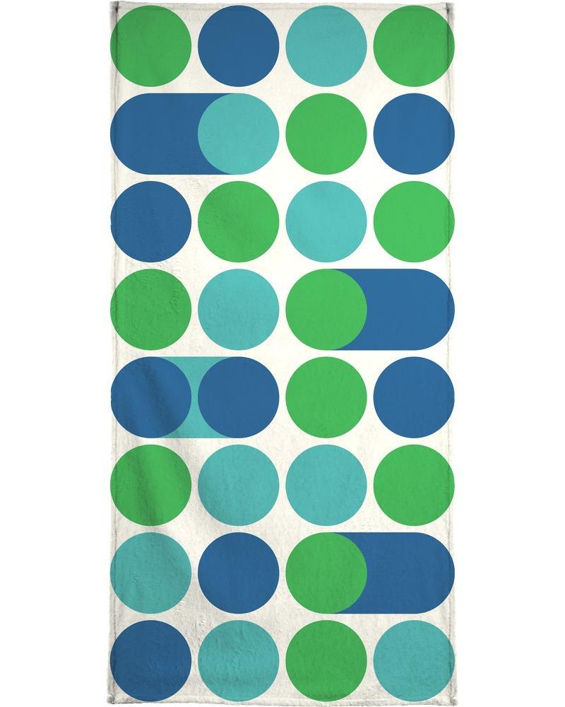Serviette de plage en éponge-velours en Bleu & Turquoise/90x180