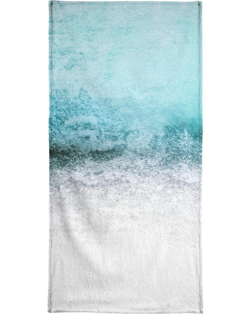 Serviette de plage en éponge-velours en Bleu & Vert/90x180