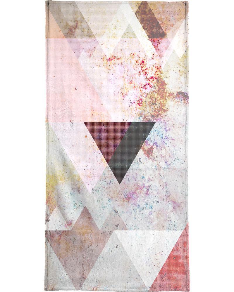 Serviette de plage en éponge-velours en Blanc ivoire & Rose/90x180