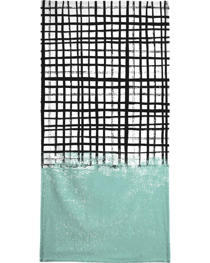Serviette de plage en éponge-velours en Blanc & Noir/90x180
