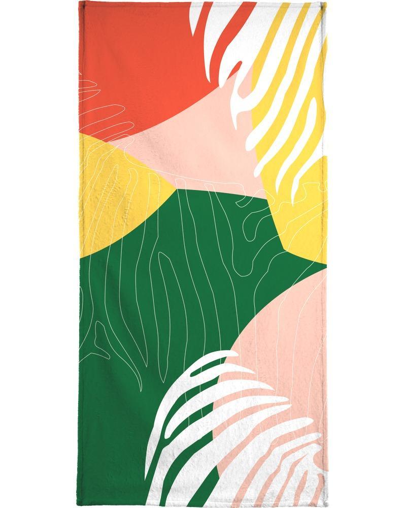Serviette de plage en éponge-velours en Jaune & Rouge/90x180