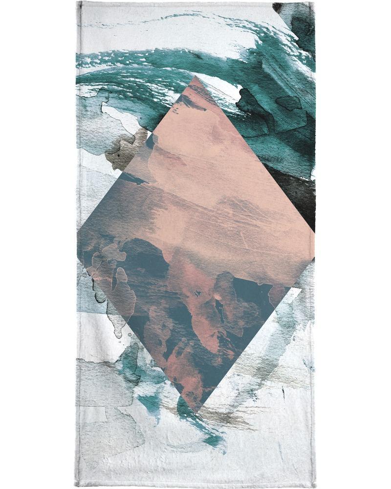 Serviette de plage en éponge-velours en Blanc ivoire & Gris/90x180