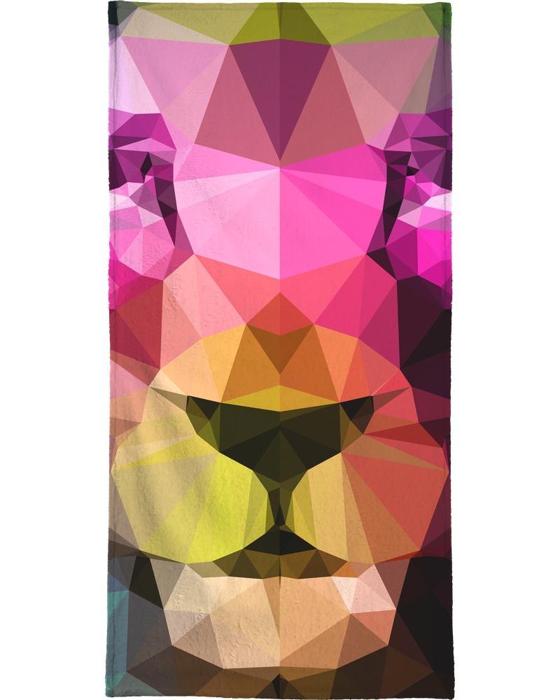 Serviette de plage en éponge-velours en Jaune & Multicolore/90x180
