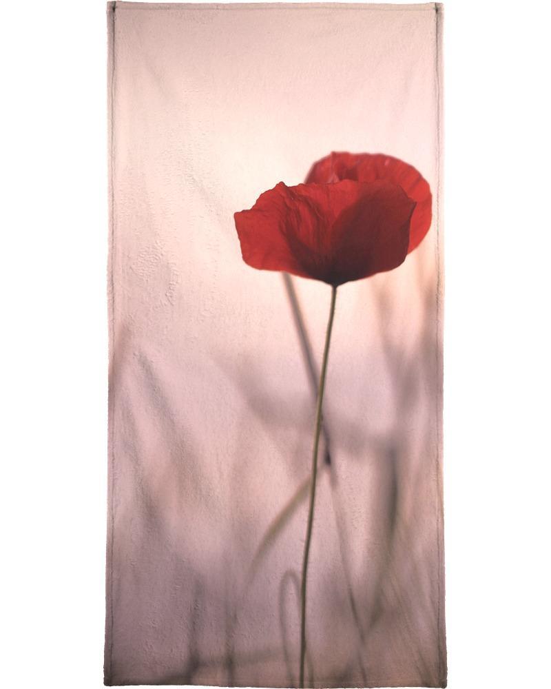 Serviette de plage en éponge-velours en Noir & Rose/90x180