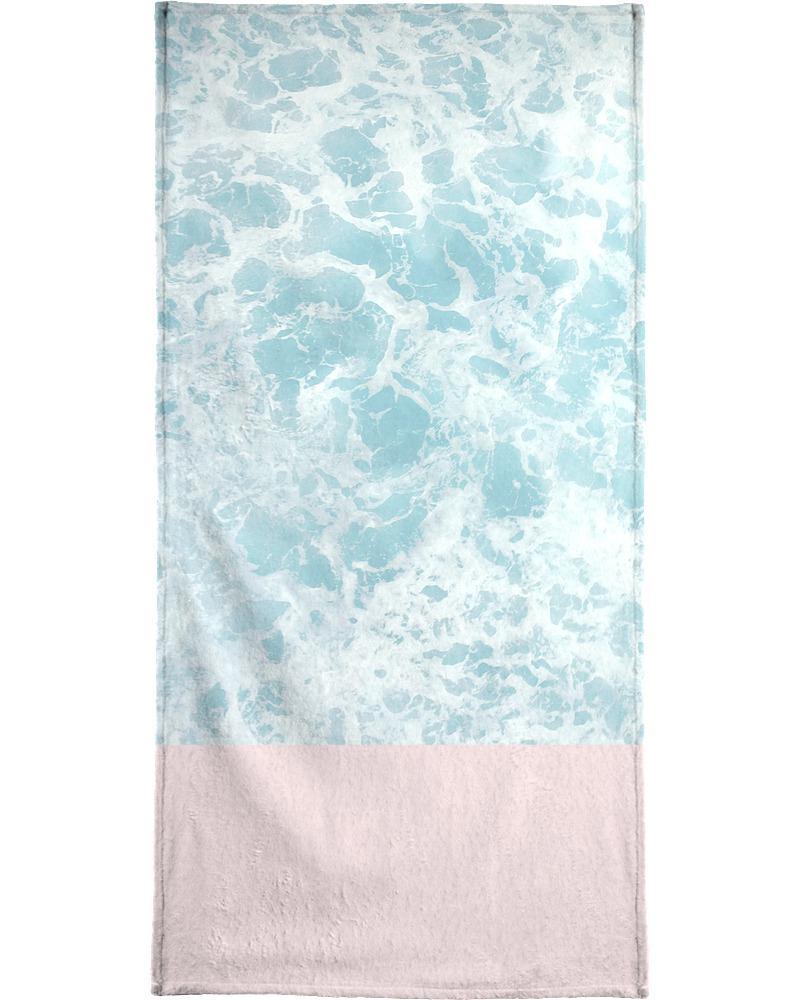 Serviette de plage en éponge-velours en Bleu & Rose/90x180