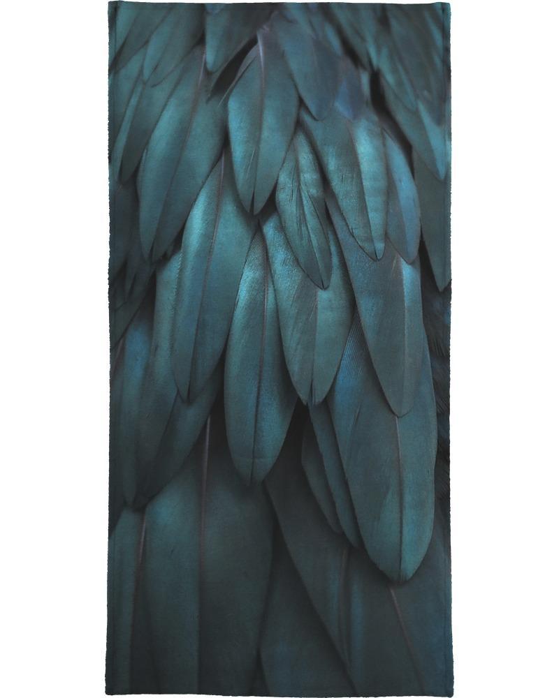 Serviette de plage en éponge-velours en Noir & Vert/90x180