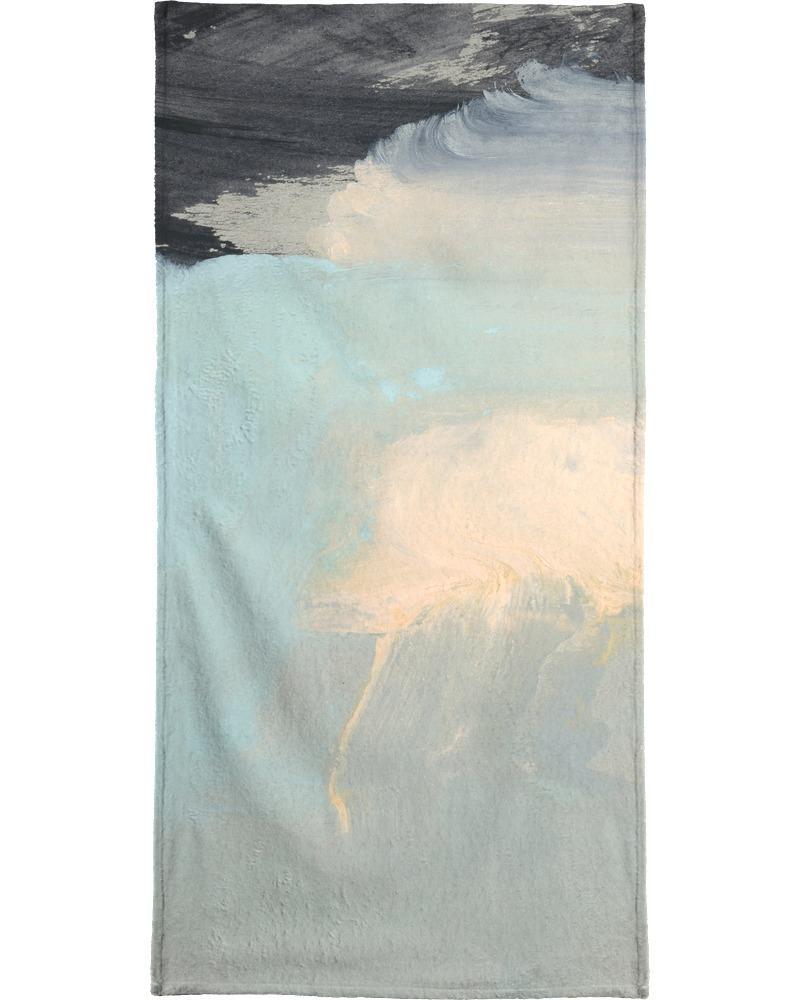 Serviette de plage en éponge-velours en Bleu & Noir/90x180