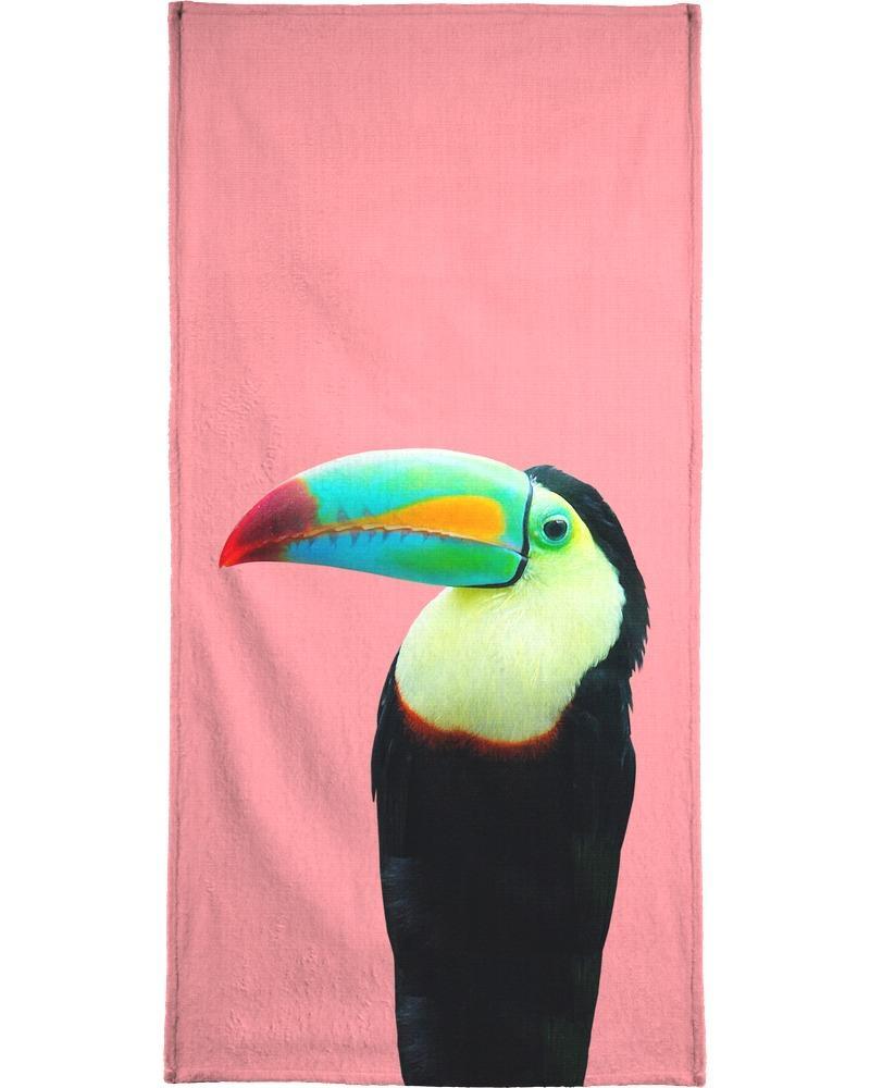 Serviette de plage en éponge-velours en Multicolore & Noir/90x180