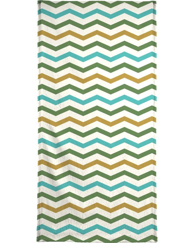 Serviette de plage en éponge-velours en Jaune & Turquoise/90x180