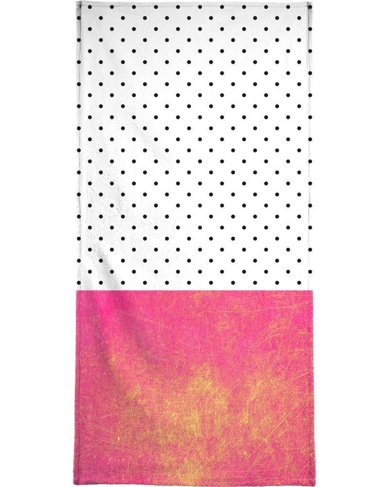 Serviette de plage en éponge-velours en Blanc & Jaune/90x180