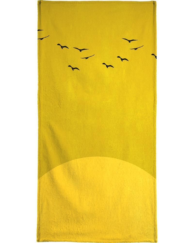 Serviette de plage en éponge-velours en Jaune/90x180