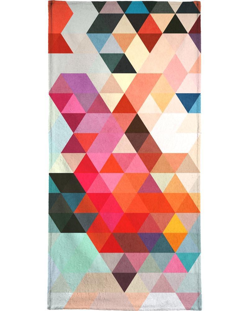Serviette de plage en éponge-velours en Multicolore & Rouge/90x180