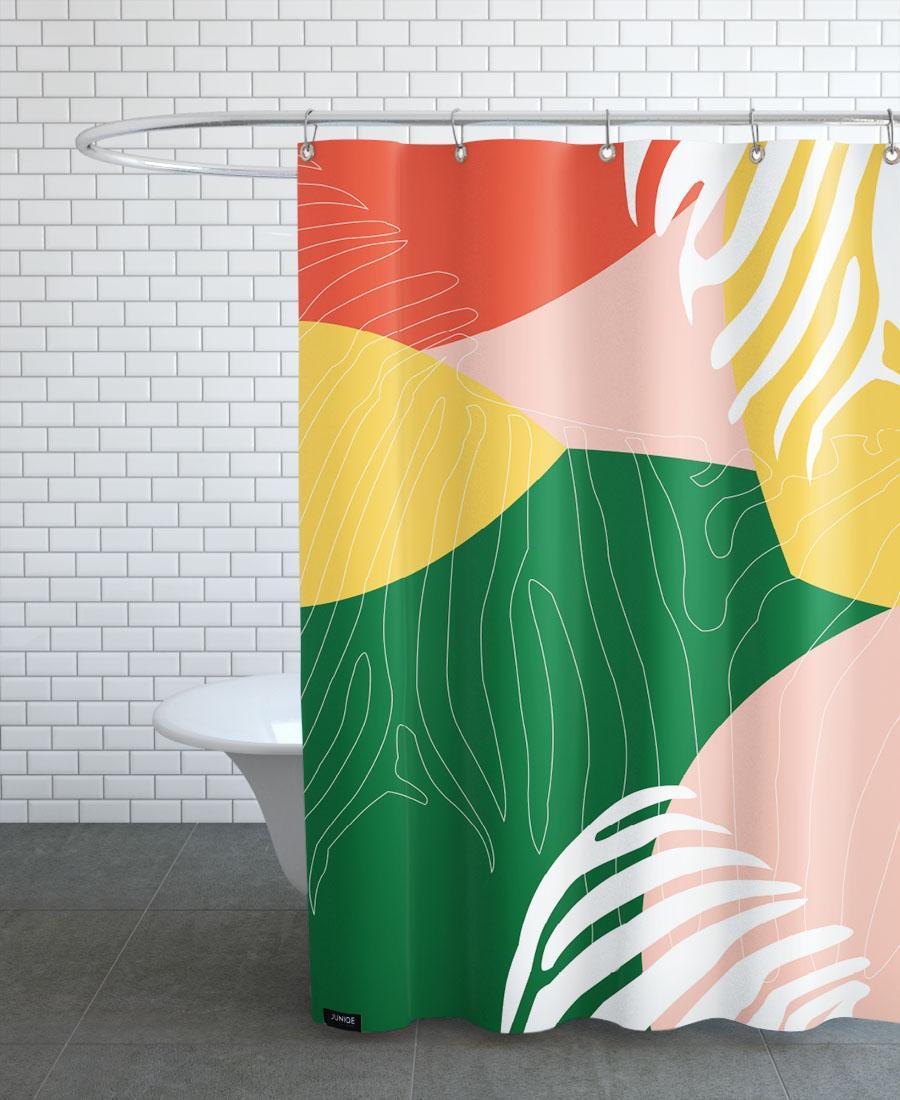 Rideau de douche en polyester en Jaune & Rouge/150x200