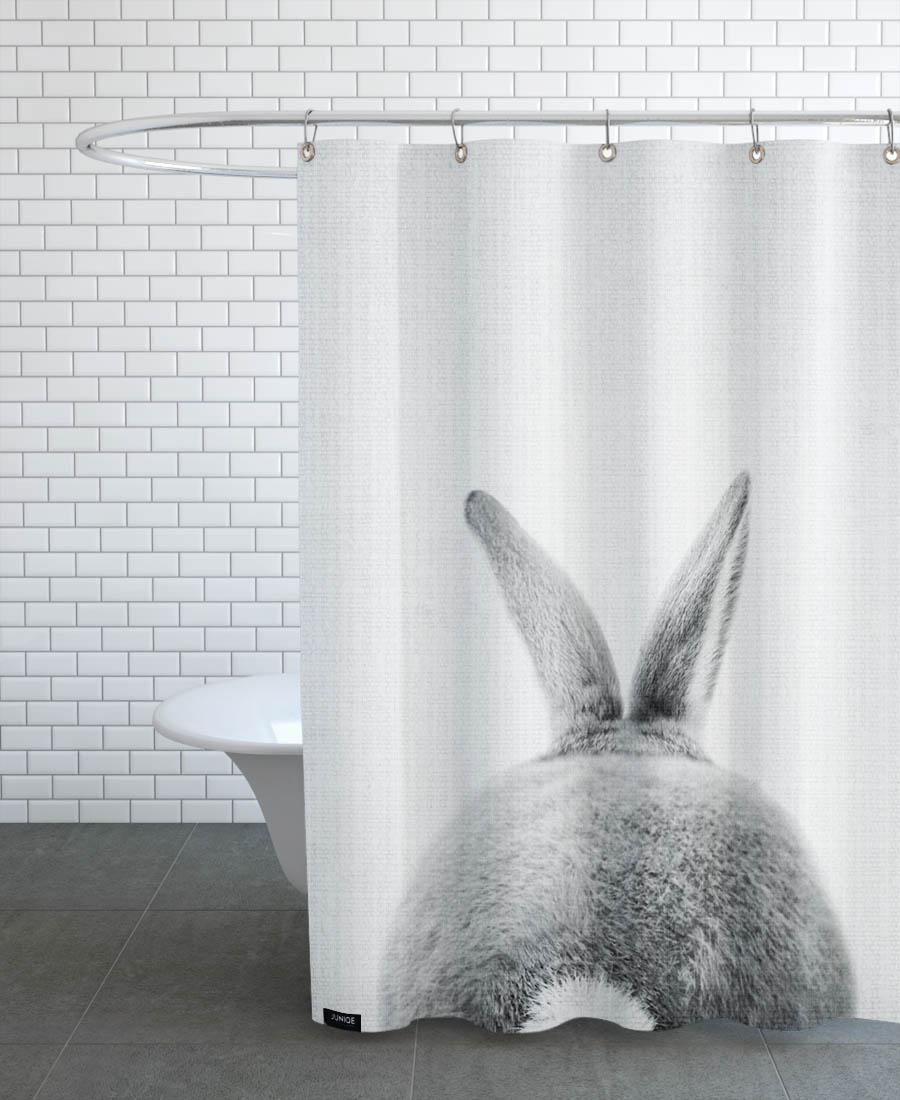 Rideau de douche en polyester en Blanc & Gris/150x200