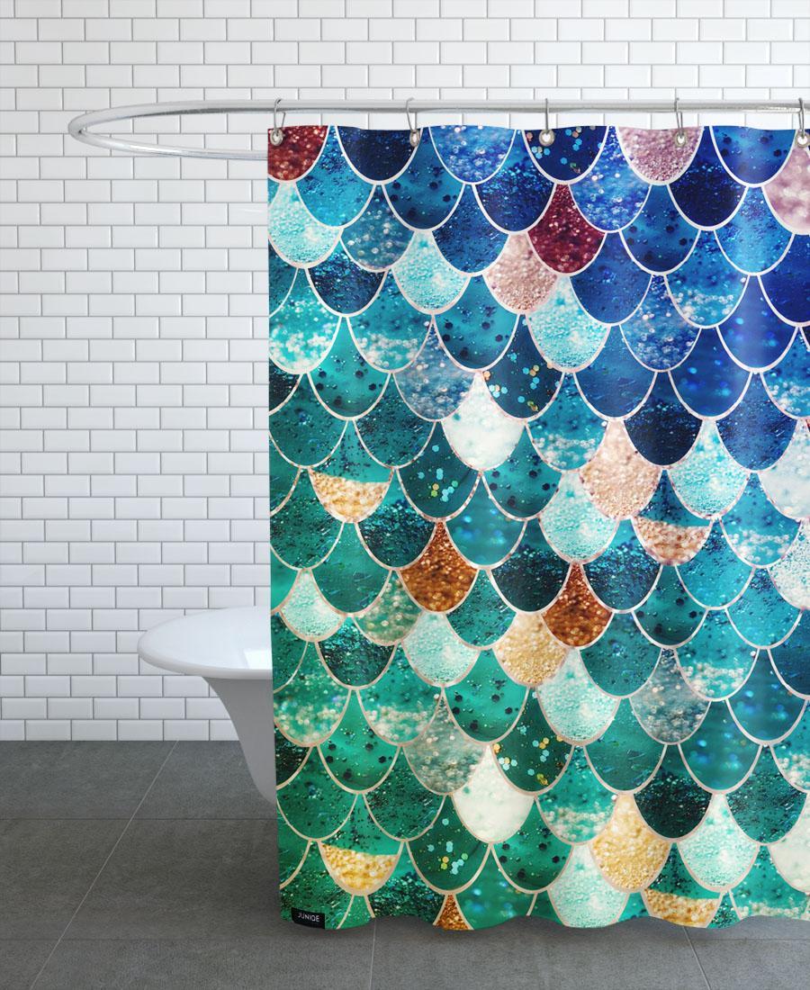 Rideau de douche en polyester en Bleu & Vert/150x200