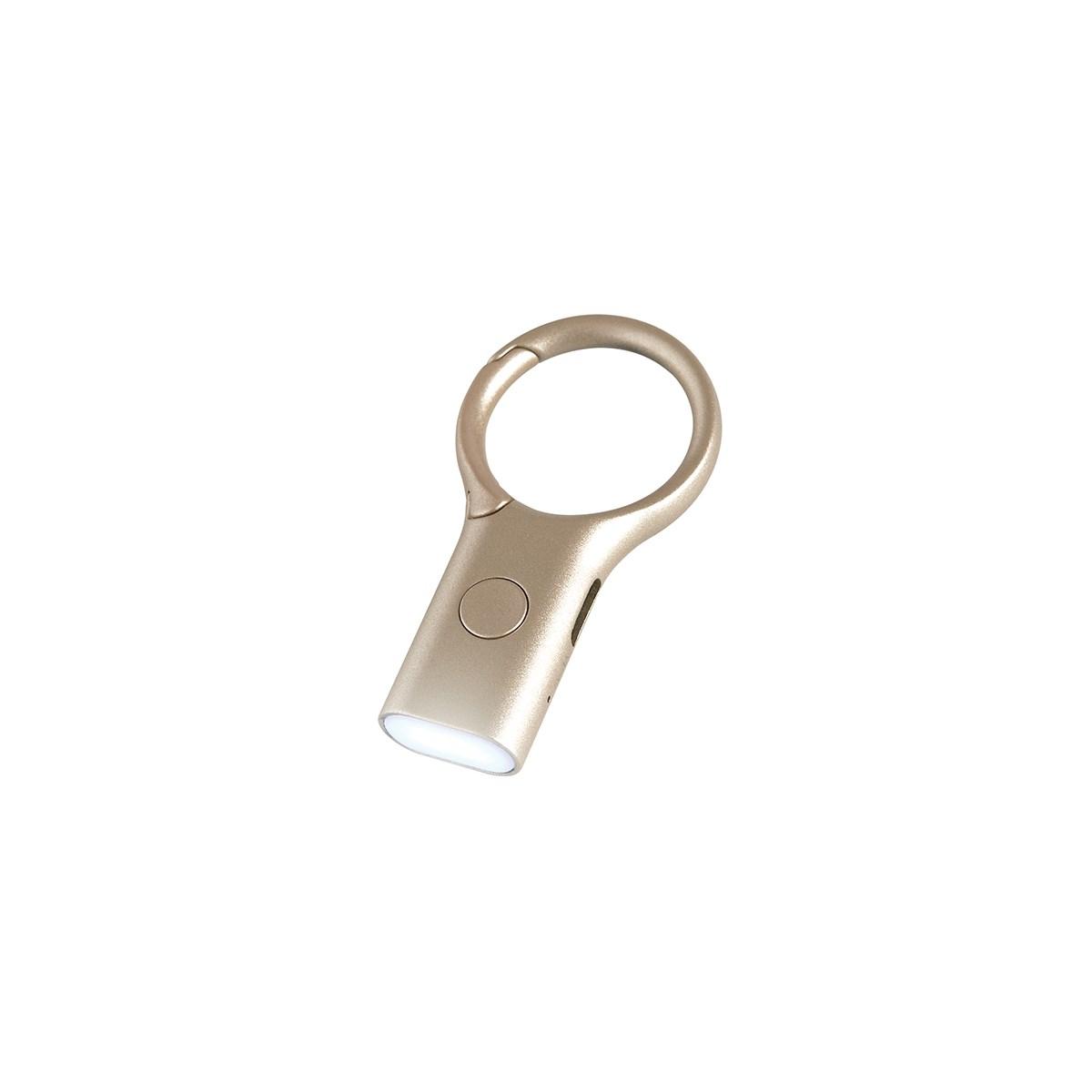 Porte-clés mousqueton avec mini torche en ABS Or