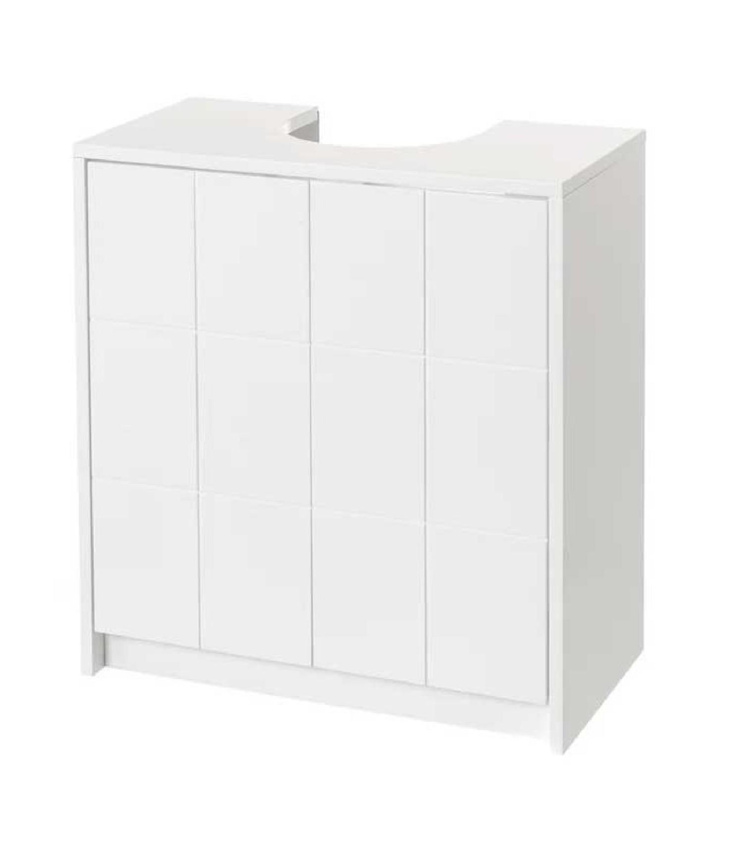 Meuble salle de bain sous lavabo/vasque en bois blanc 2 portes