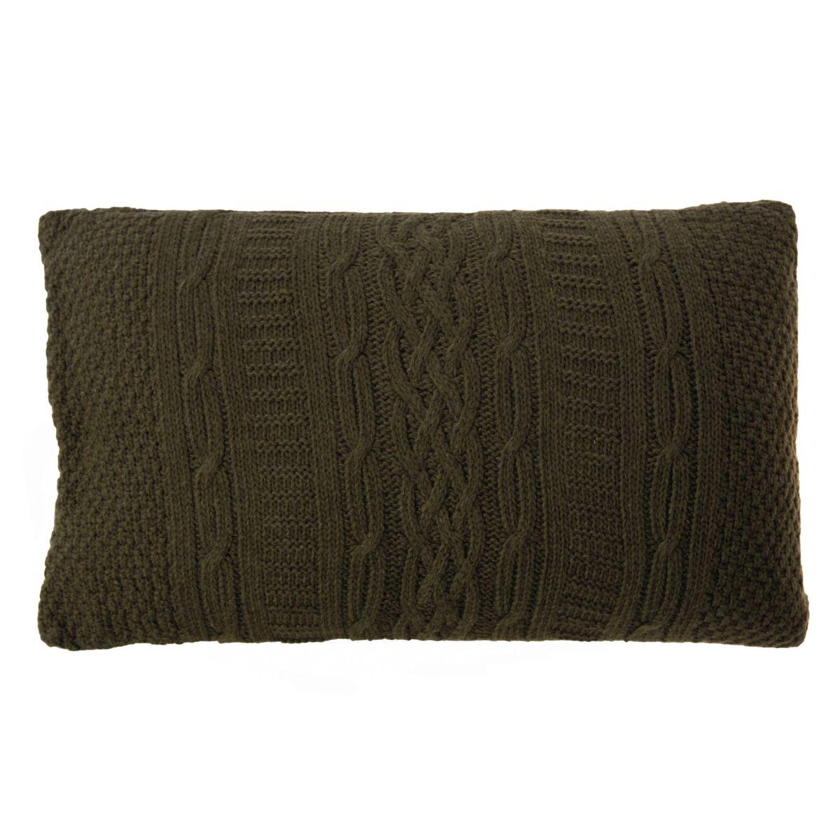 Housse de coussin verte en laine 50 x 30 cm
