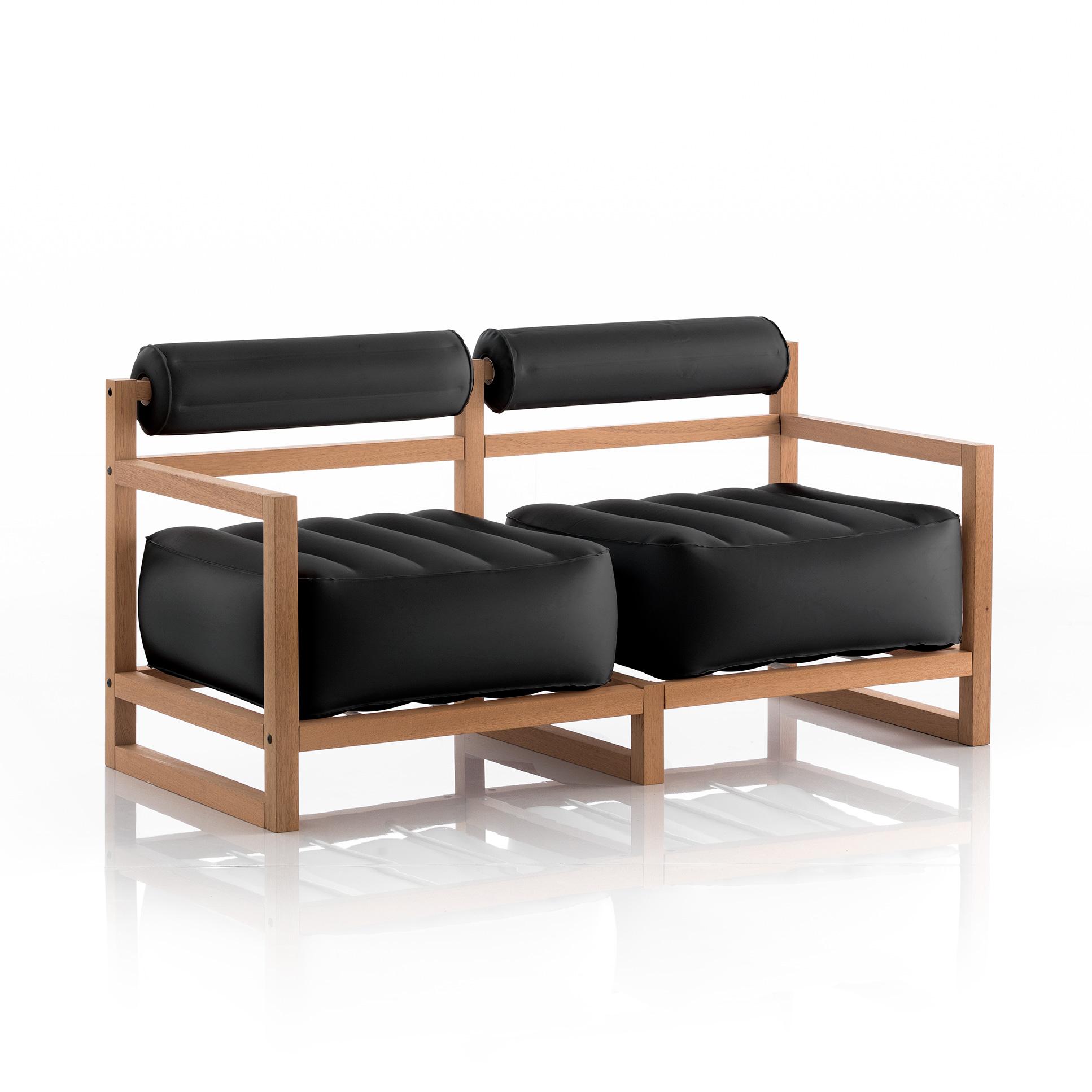 Canapé 2 places pvc noir opaque cadre en bois
