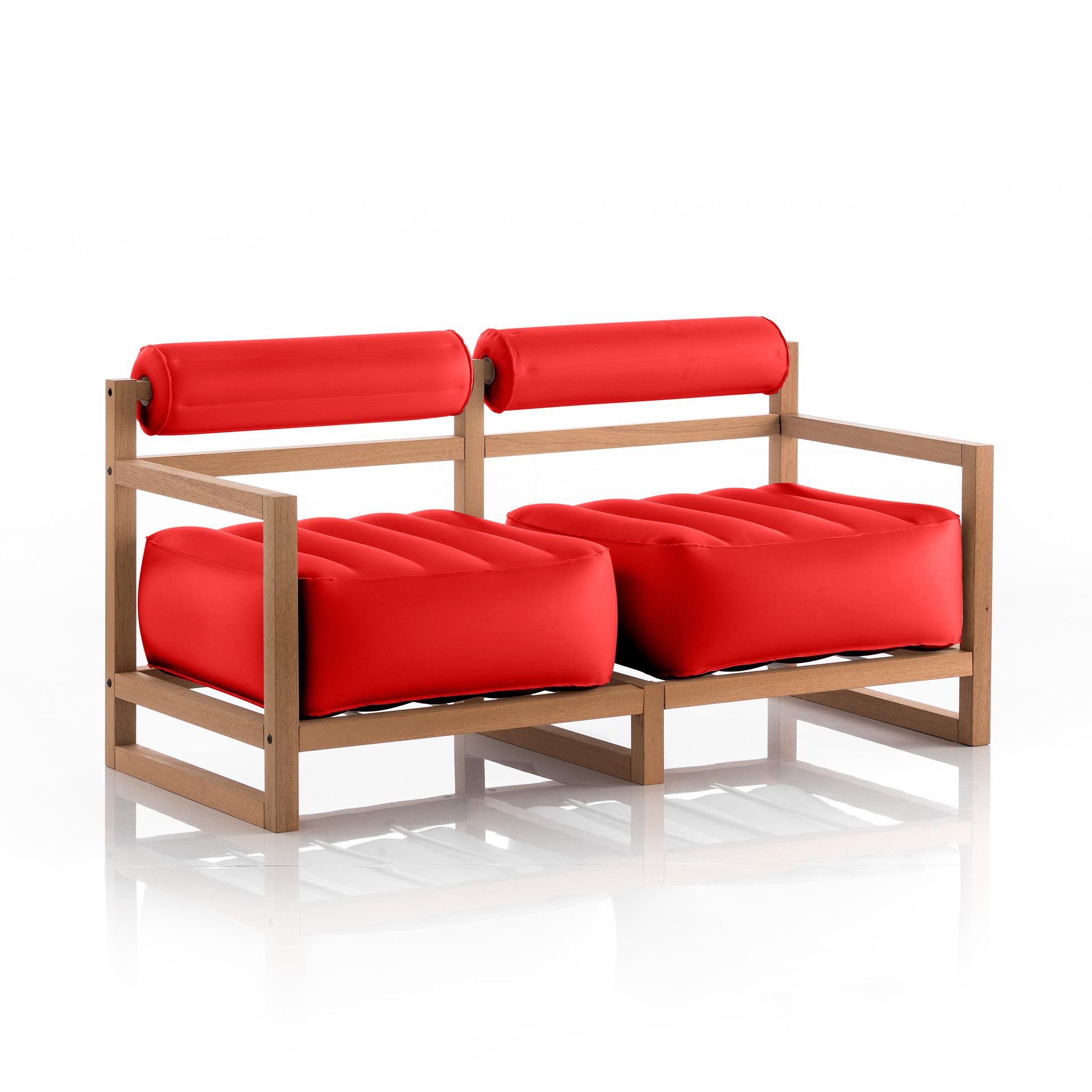 Canapé pvc 2 places rouge cadre en bois