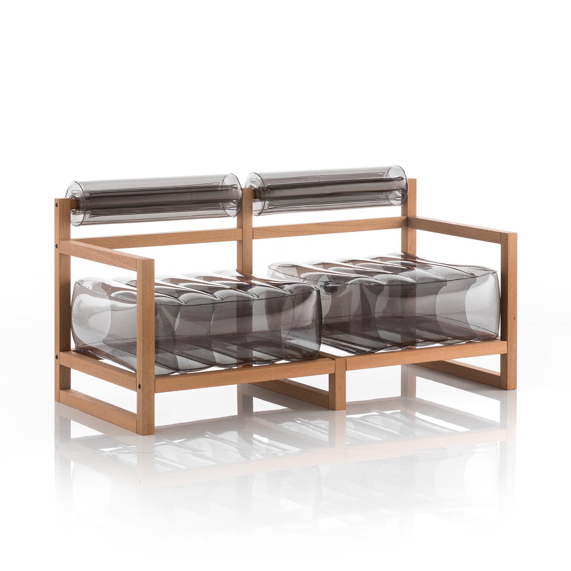 Canapé 2 places pvc noir cristal cadre en bois