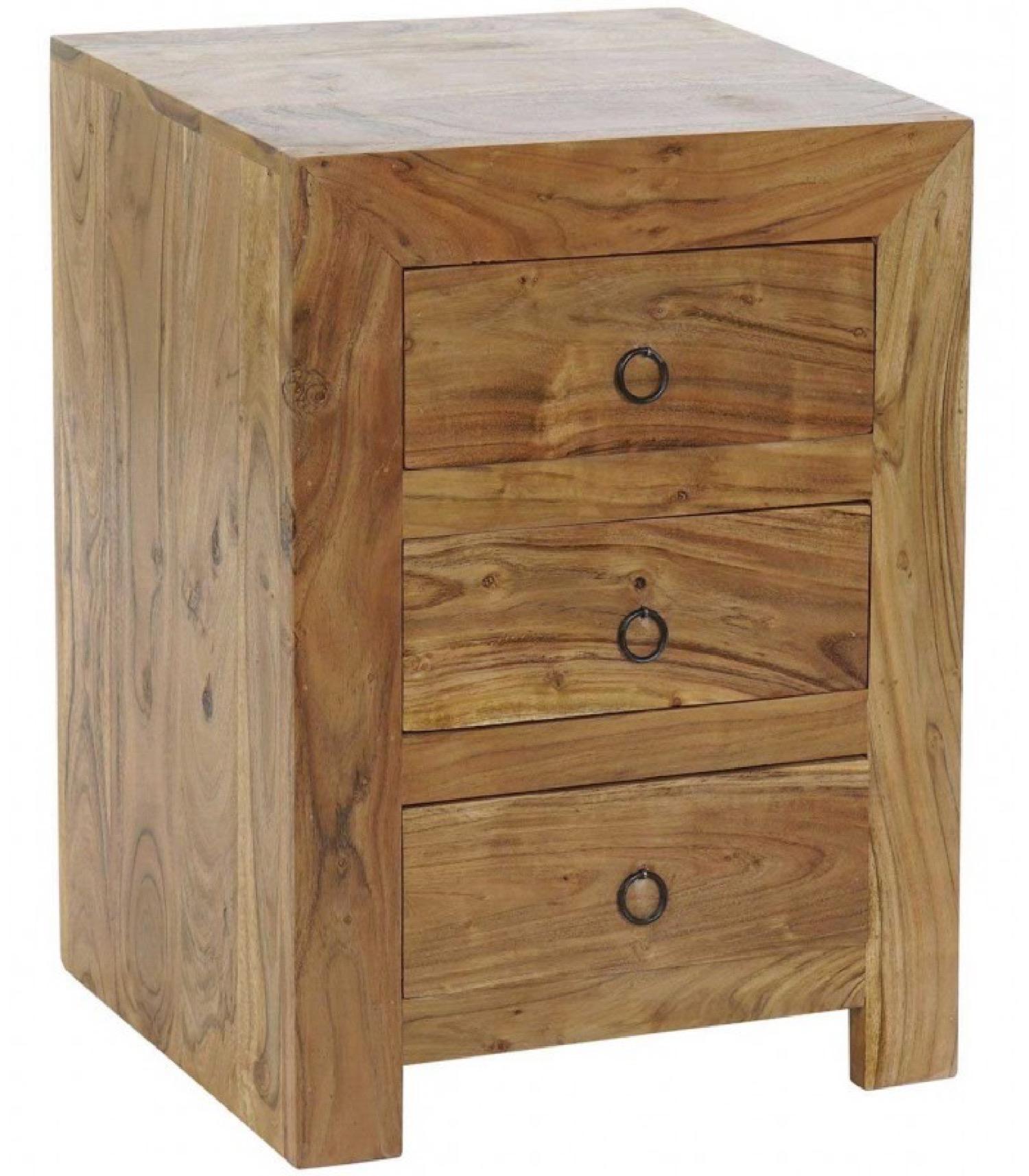 Table de chevet en bois massif d'acacia 3 tiroirs