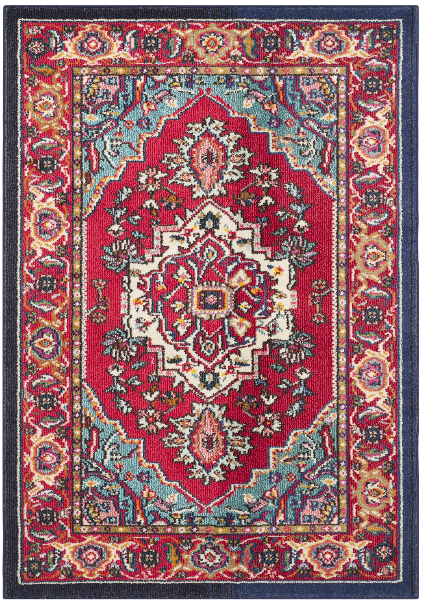 Tapis de salon boho  rouge et turquoise 120x180