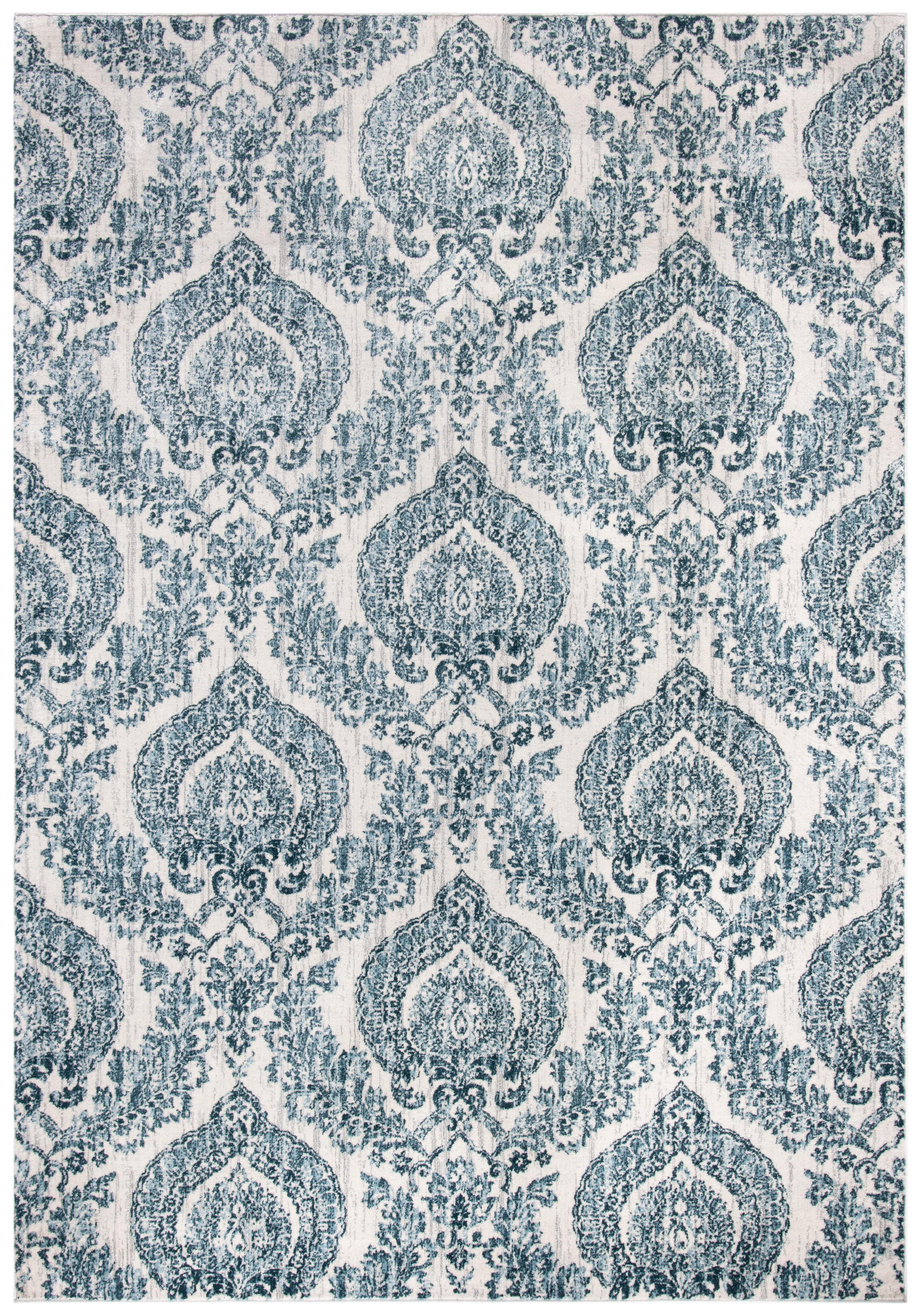 Tapis de salon classique bleu marine et ivoire 121x182