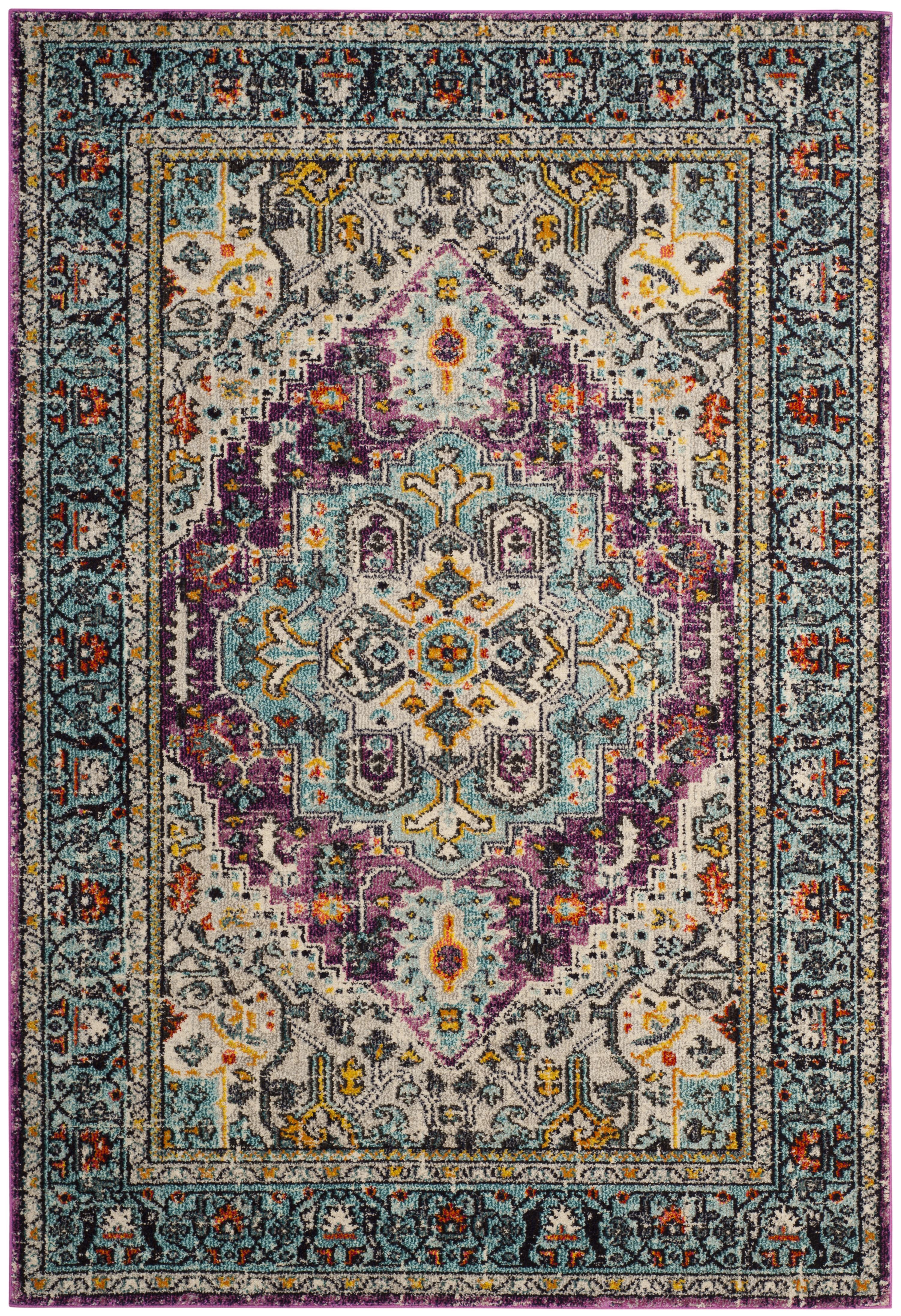 Tapis de salon boho  violet et bleu clair 200x300