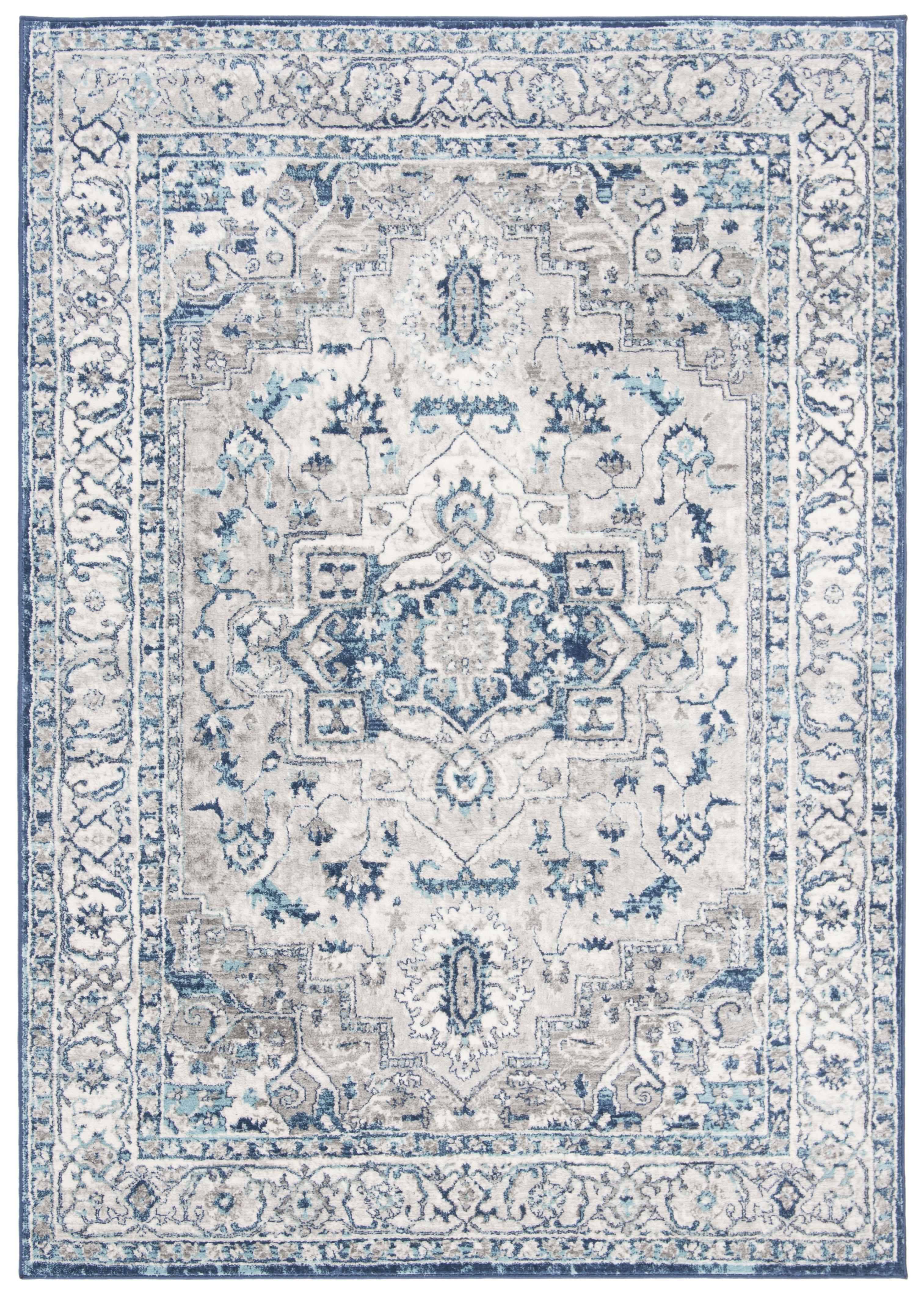 Tapis de salon classique gris clair et bleu 120x180