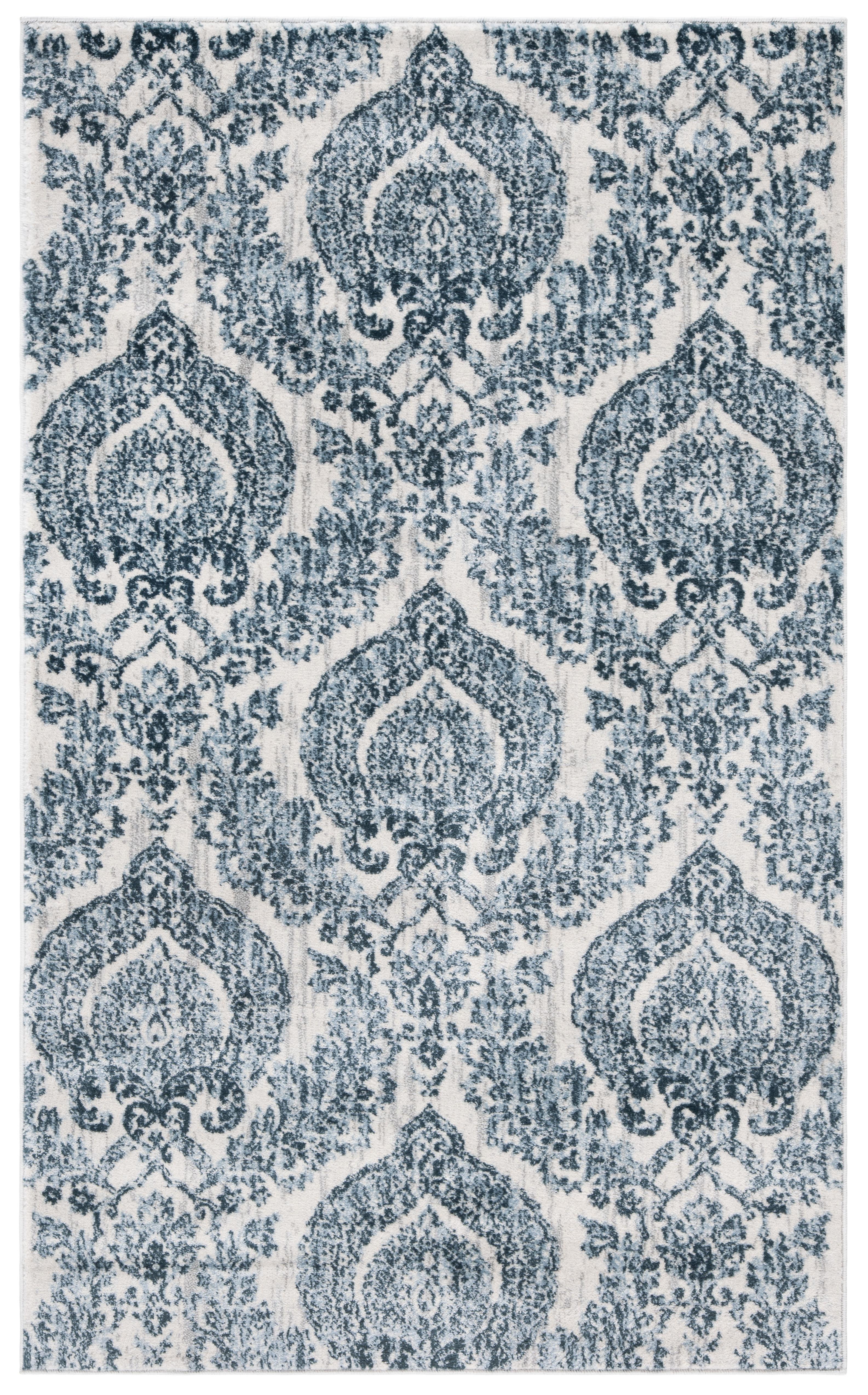 Tapis de salon classique bleu marine et ivoire 91x152