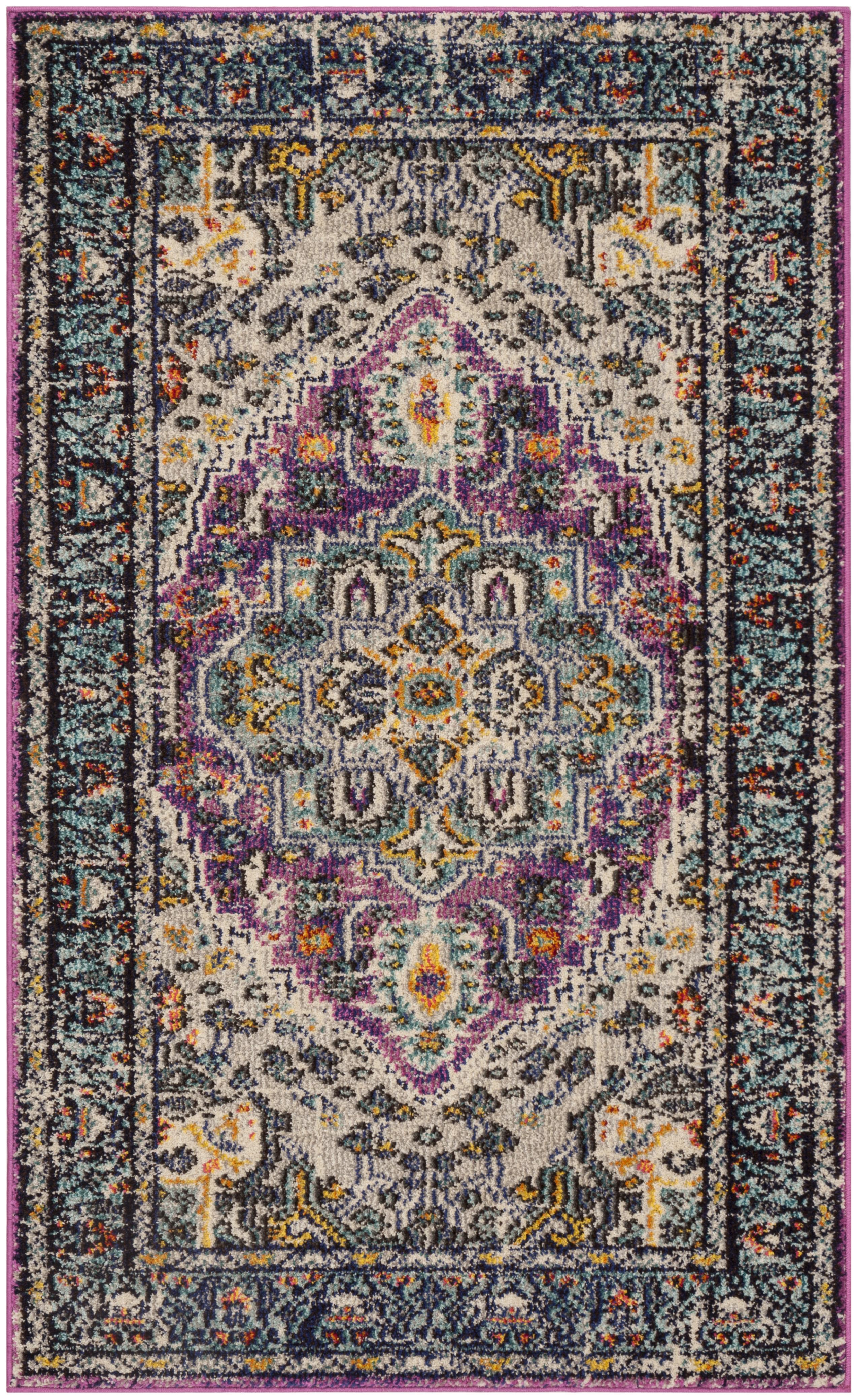 Tapis de salon boho  violet et bleu clair 90x150