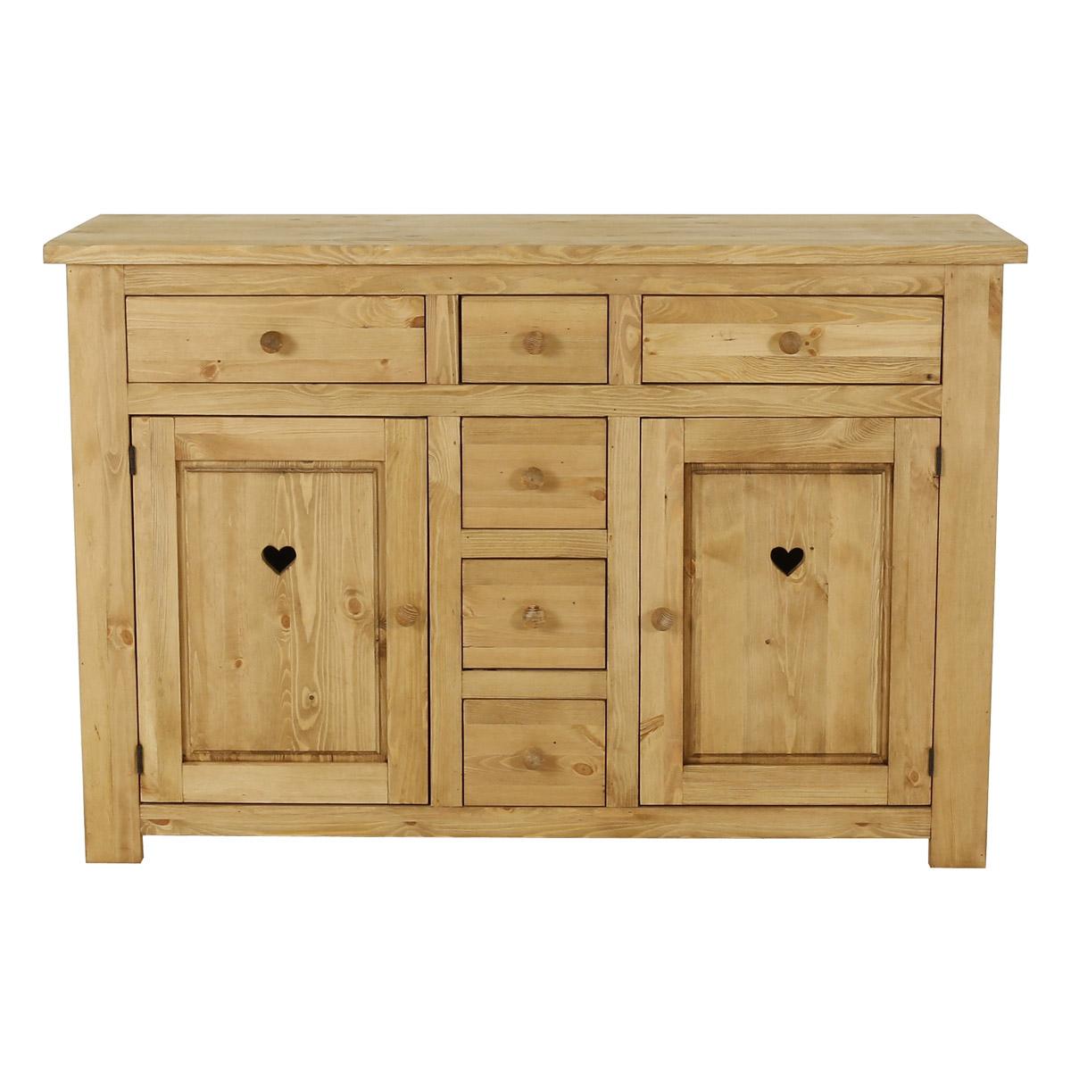 Bahut rustique pin massif 2 portes + 6 tiroirs avec coeur