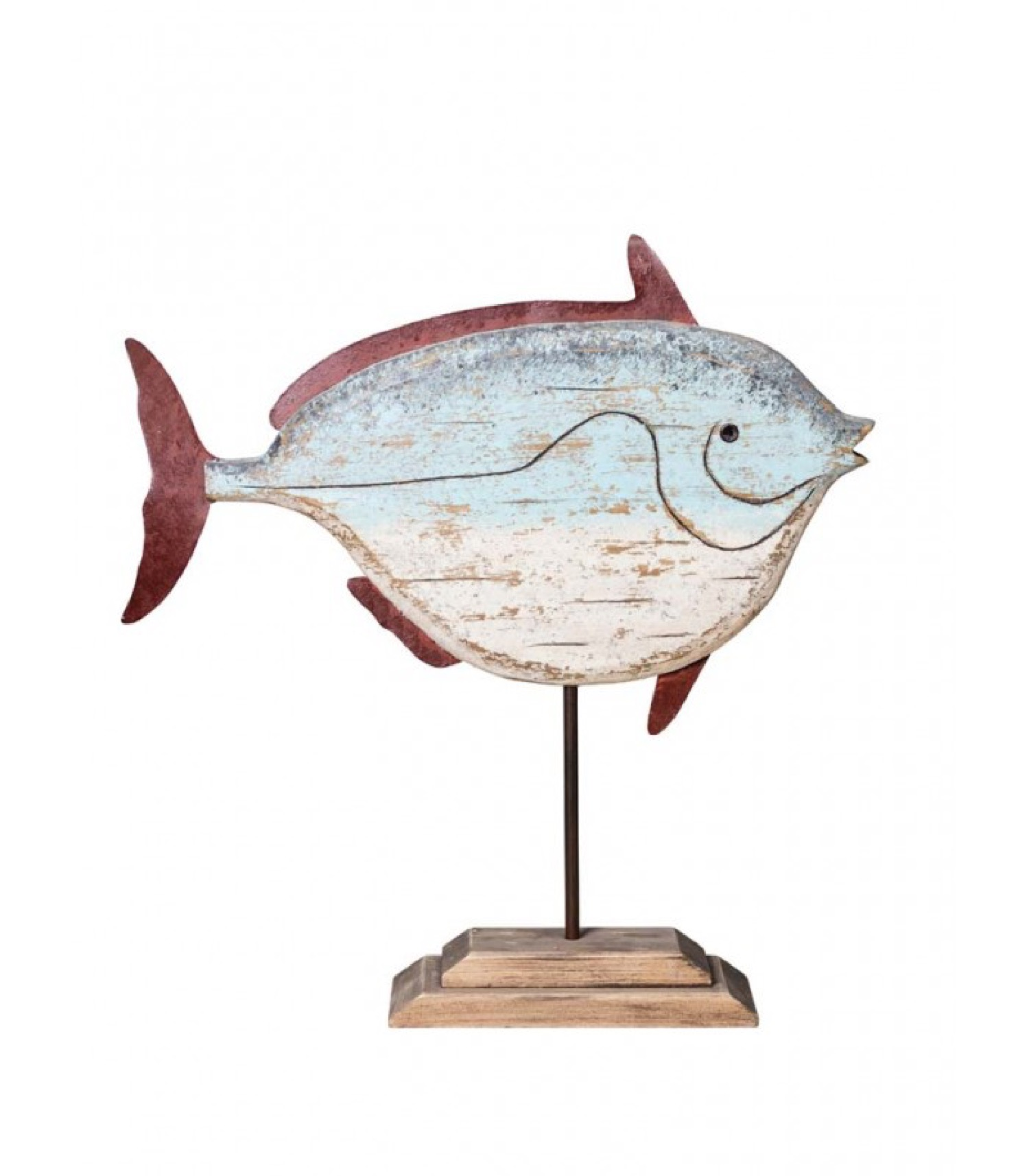 Statue déco à poser en bois et métal poisson