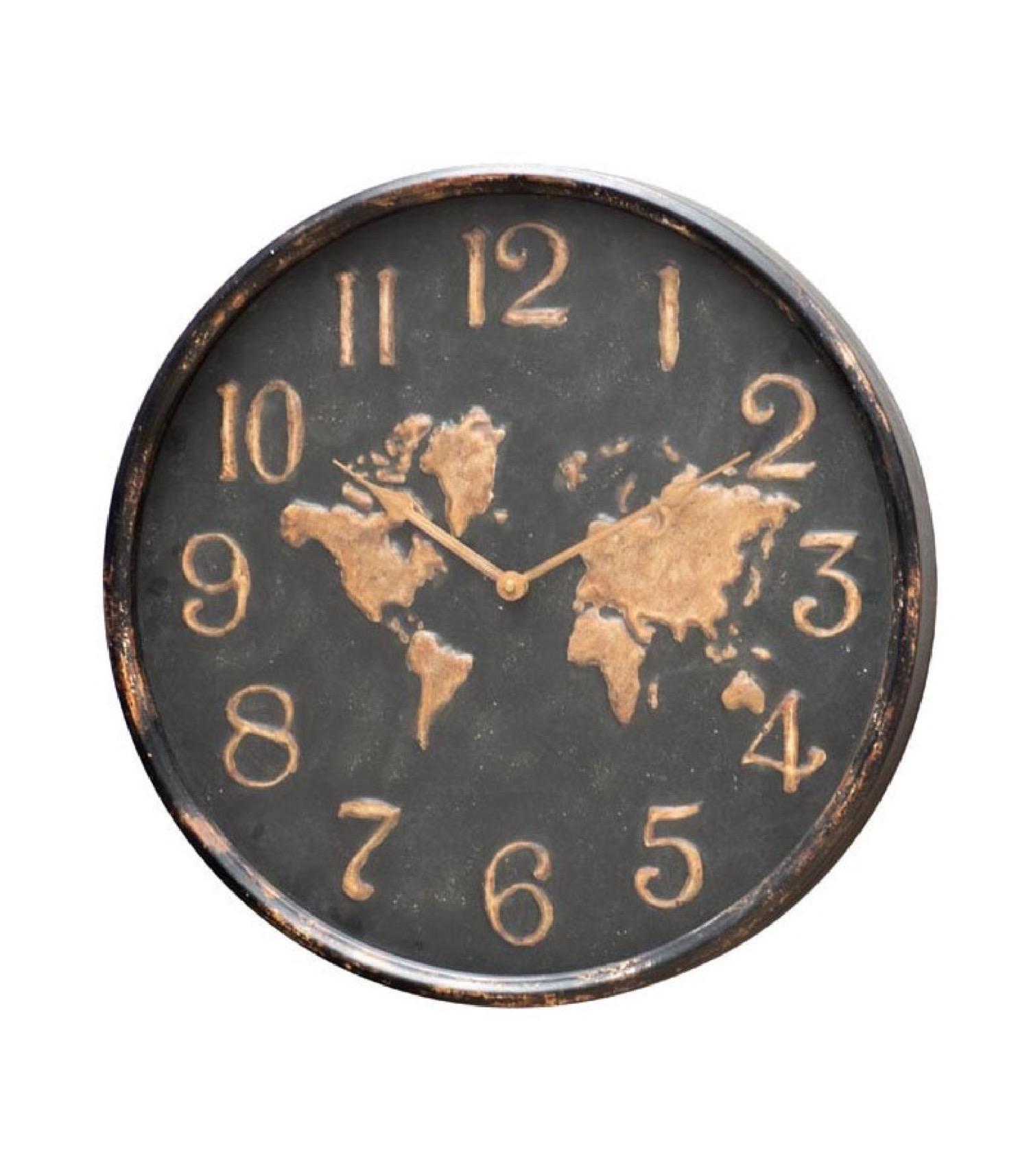 Horloge murale ronde en métal noir et doré D48