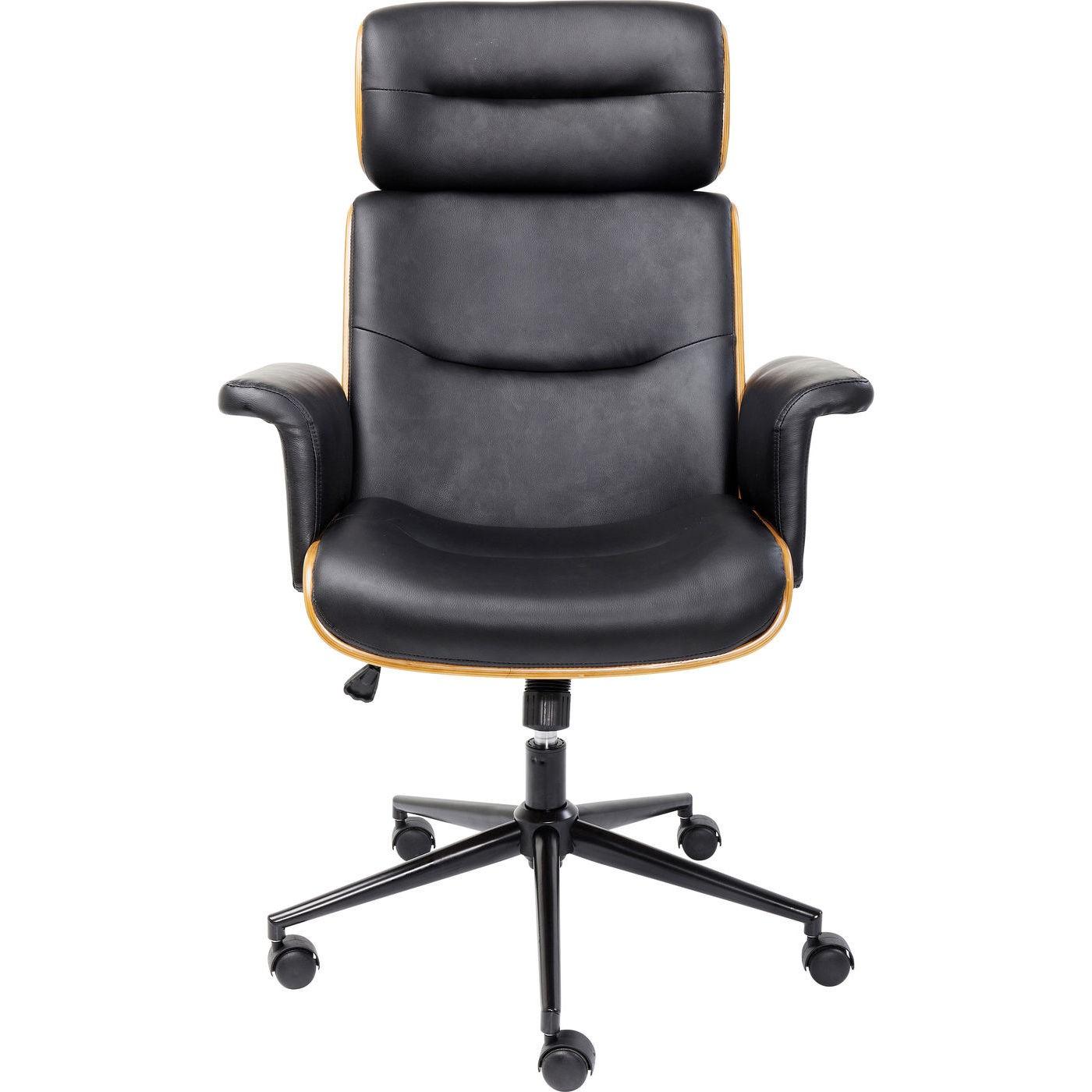 Chaise de bureau réglable à roulettes noire