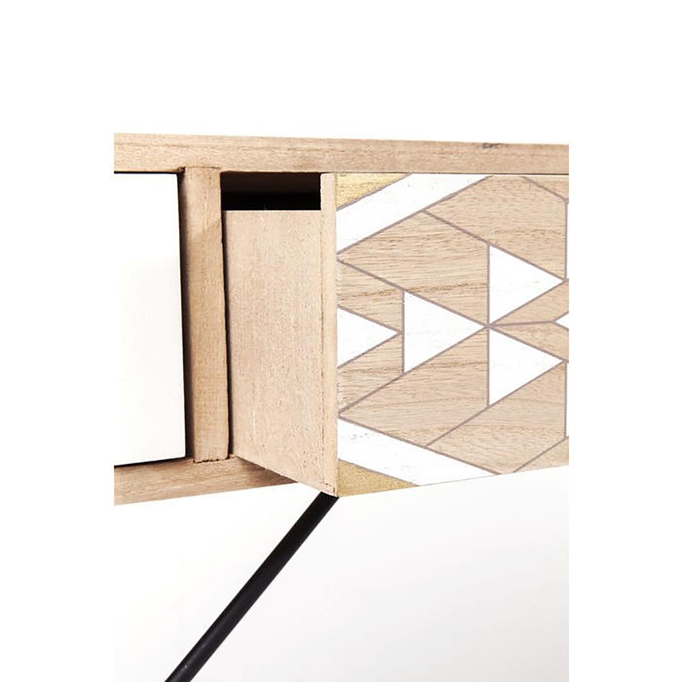 Bureau 5 tiroirs motifs géométriques gris et blanc