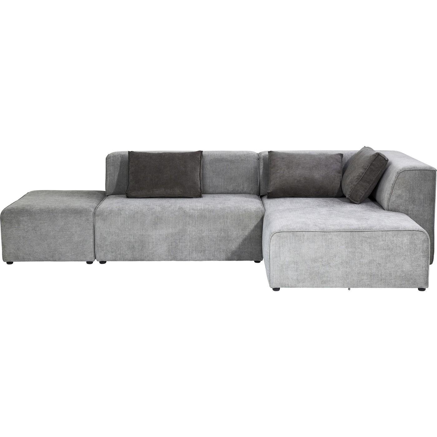 Canapé d'angle droit 4 places en tissu gris