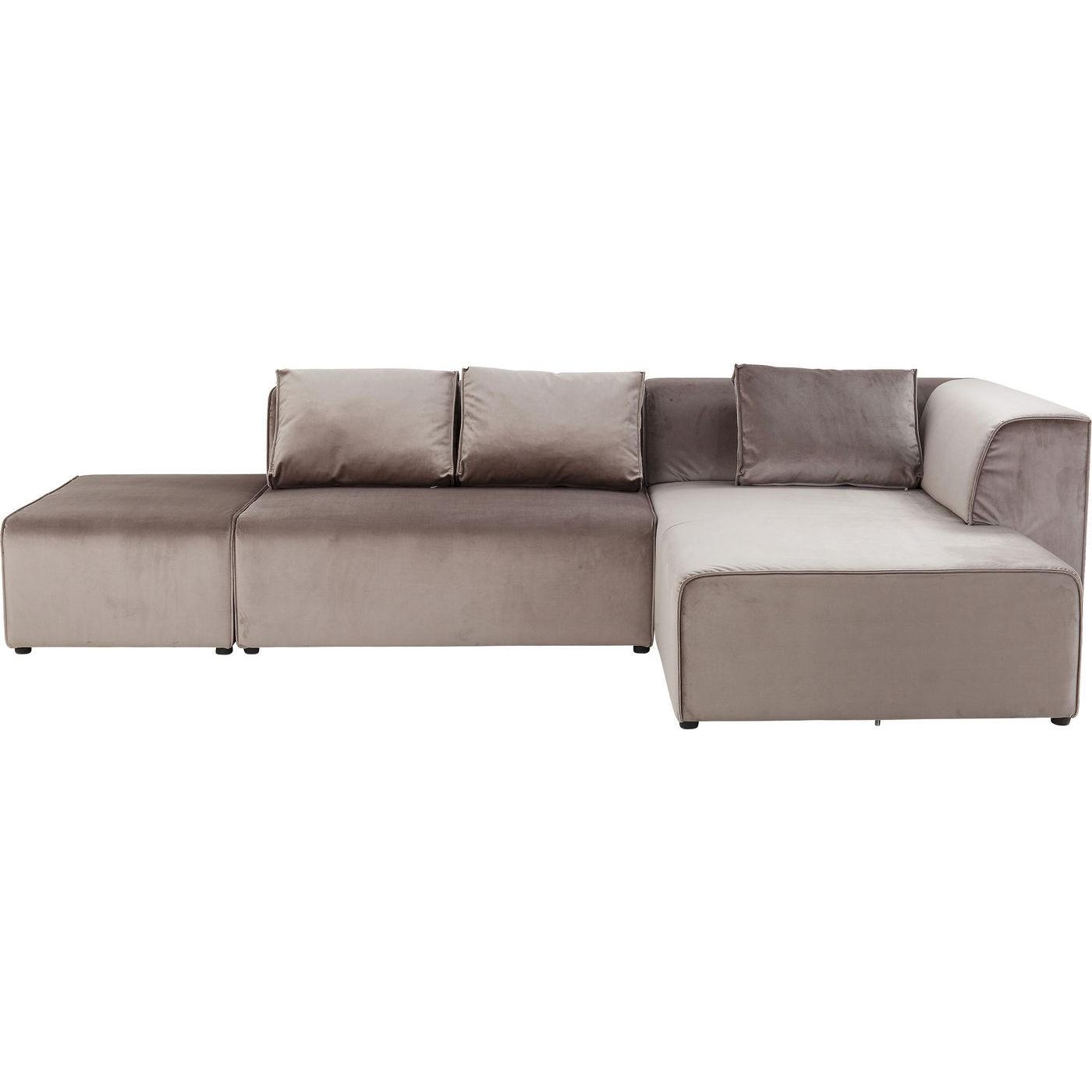 Canapé d'angle droite 4 places en velours taupe