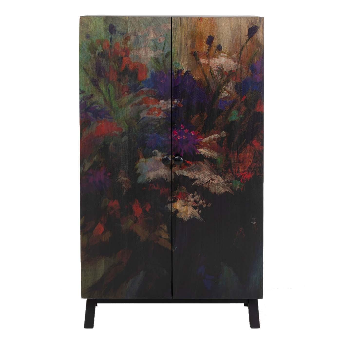 Armoire 2 portes en manguier massif motifs fleurs (photo)